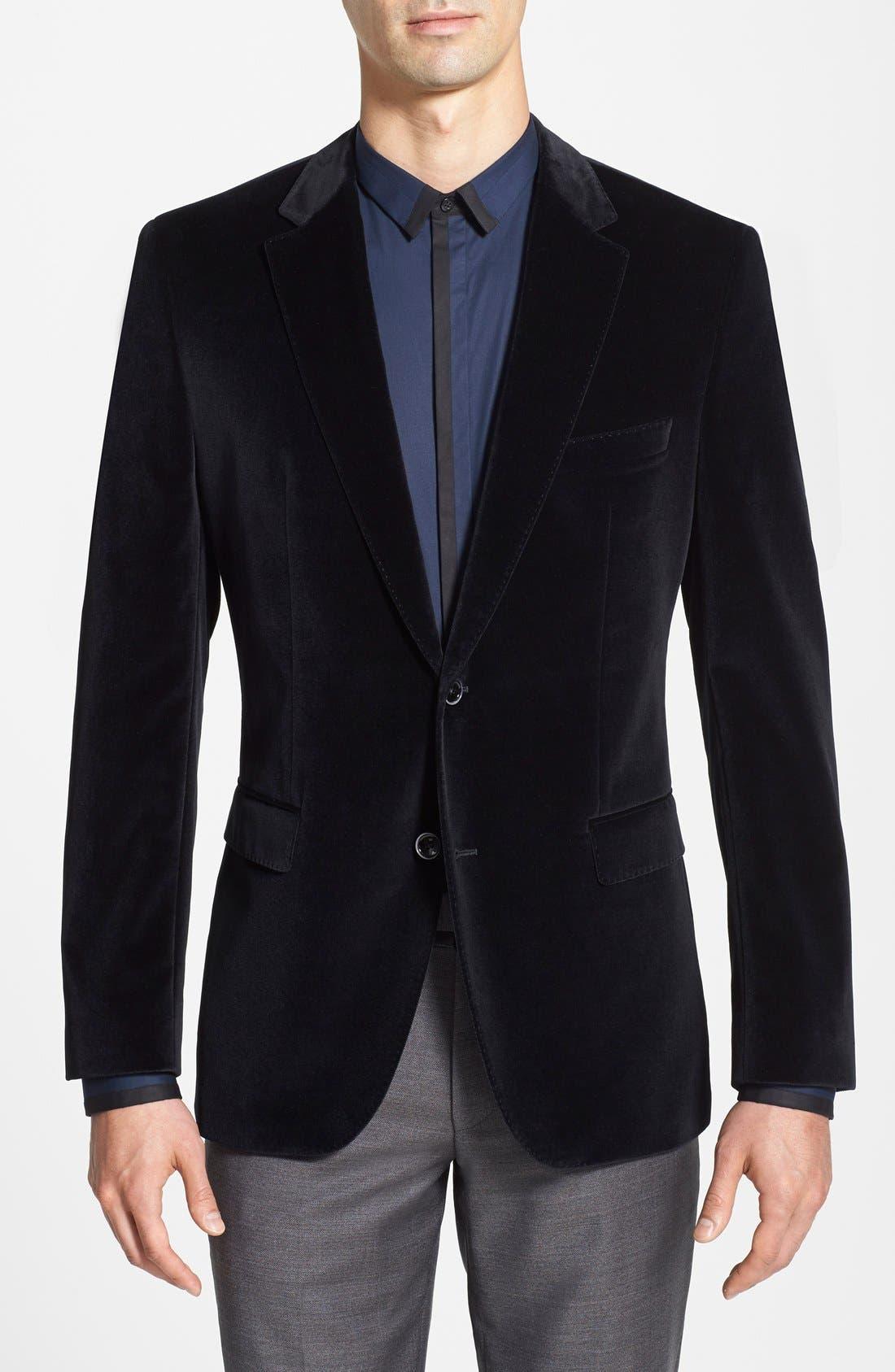 BOSS HUGO BOSS 'Keys' Trim Fit Velvet Blazer, Main, color, 001