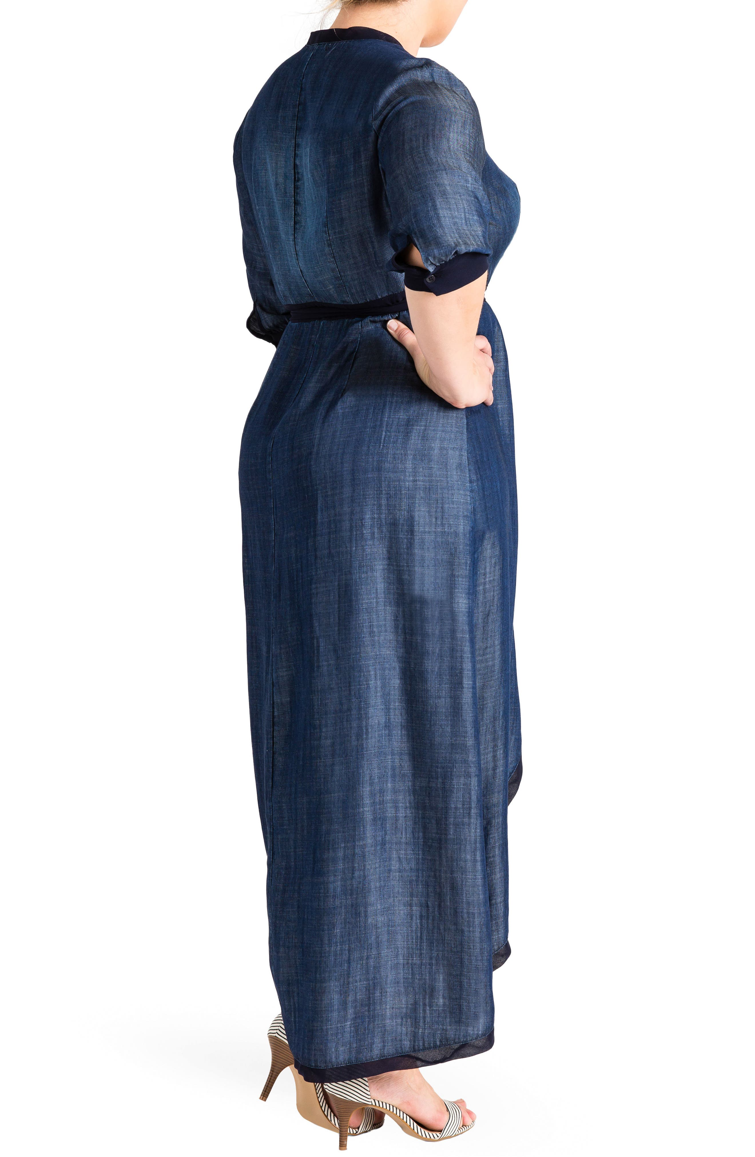 Elle Wrap Maxi Dress,                             Alternate thumbnail 2, color,                             MEDIUM BLUE