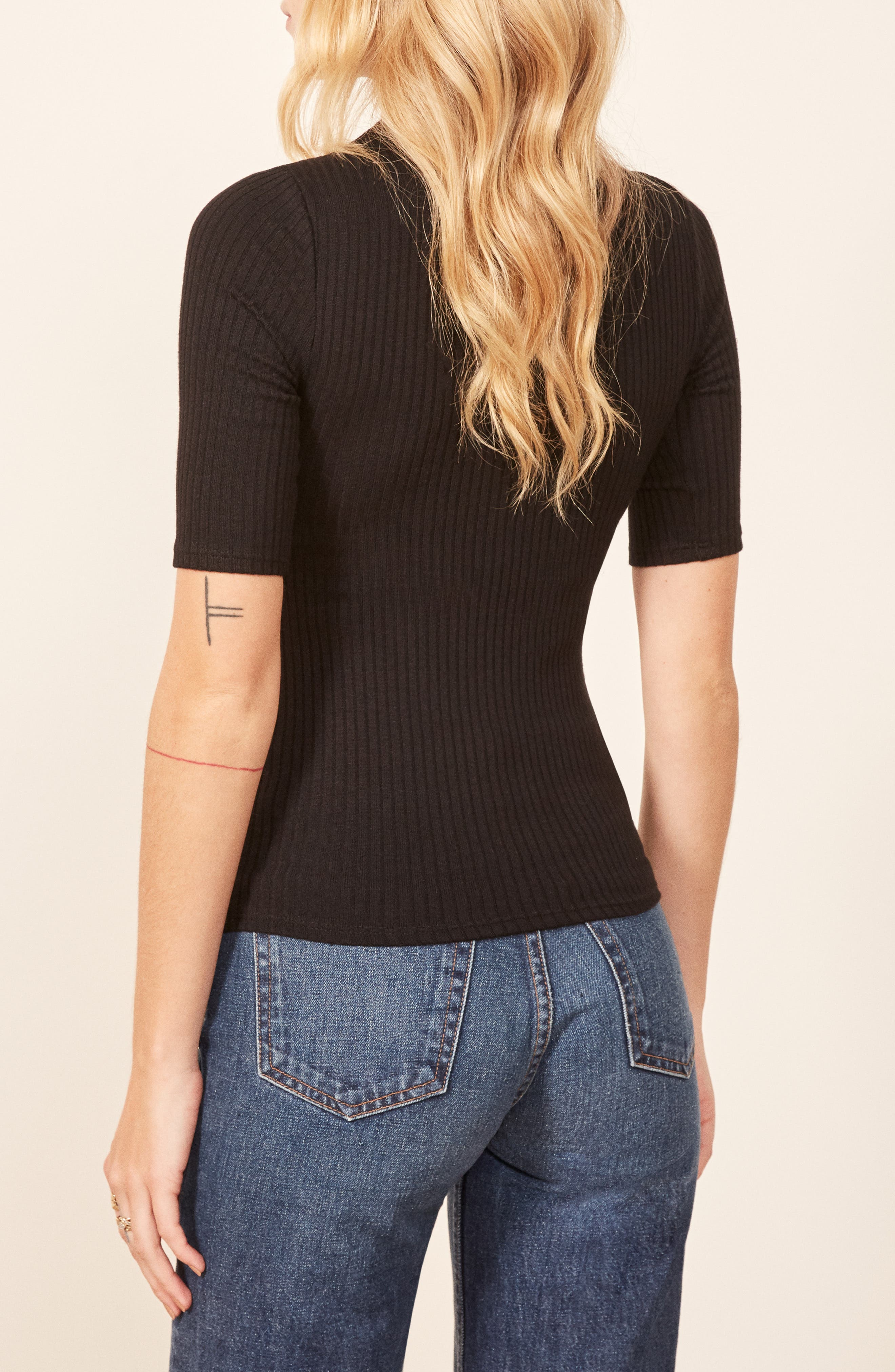 Leia Ribbed Top,                             Alternate thumbnail 3, color,                             001