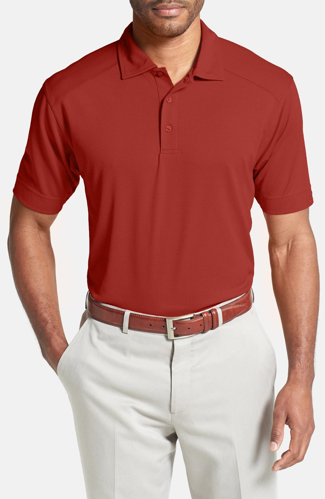 'Genre' DryTec Moisture Wicking Polo,                             Main thumbnail 1, color,                             CARDINAL RED
