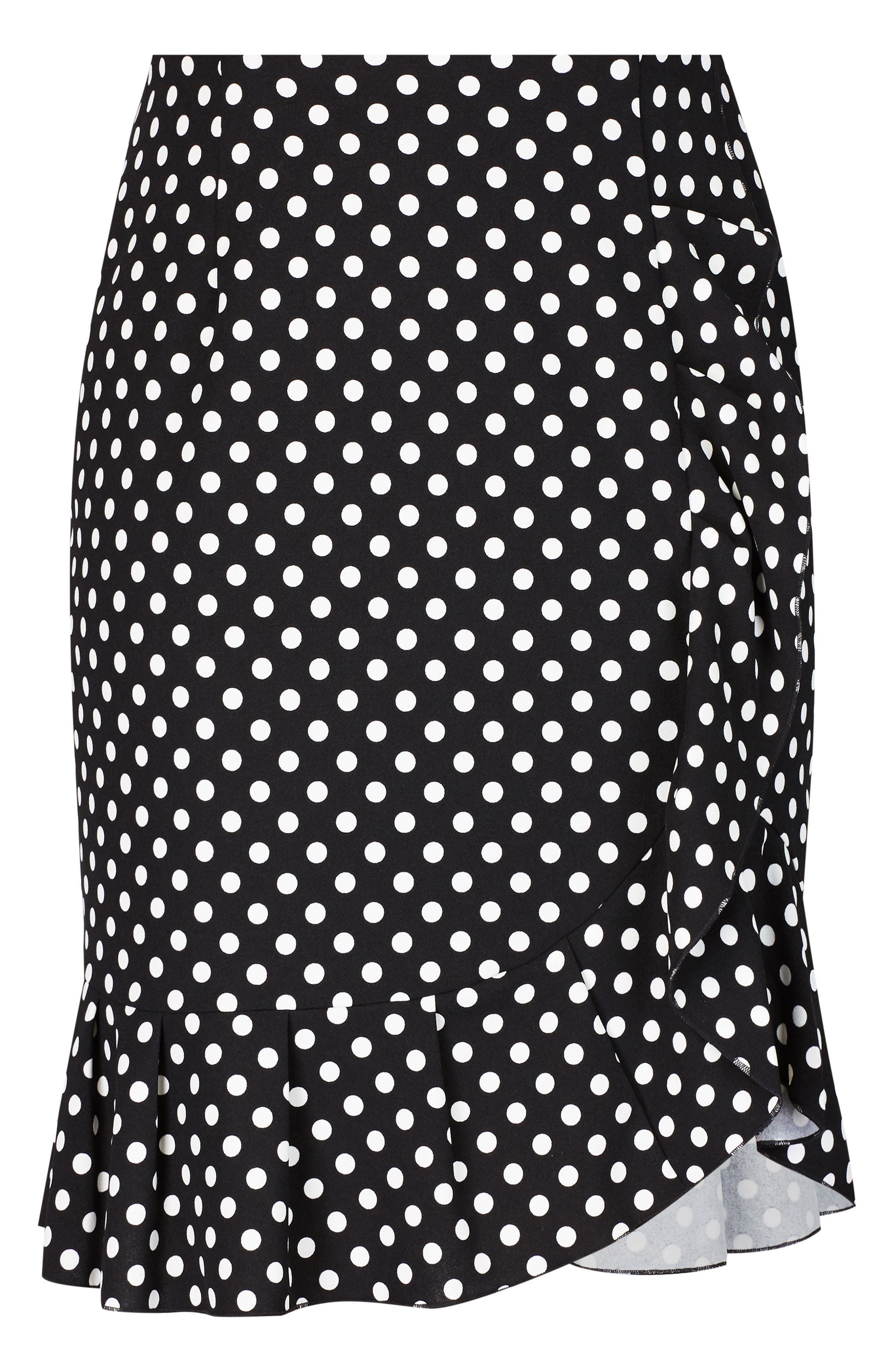 Spot Frill Skirt,                             Alternate thumbnail 3, color,                             BLACK SPOT