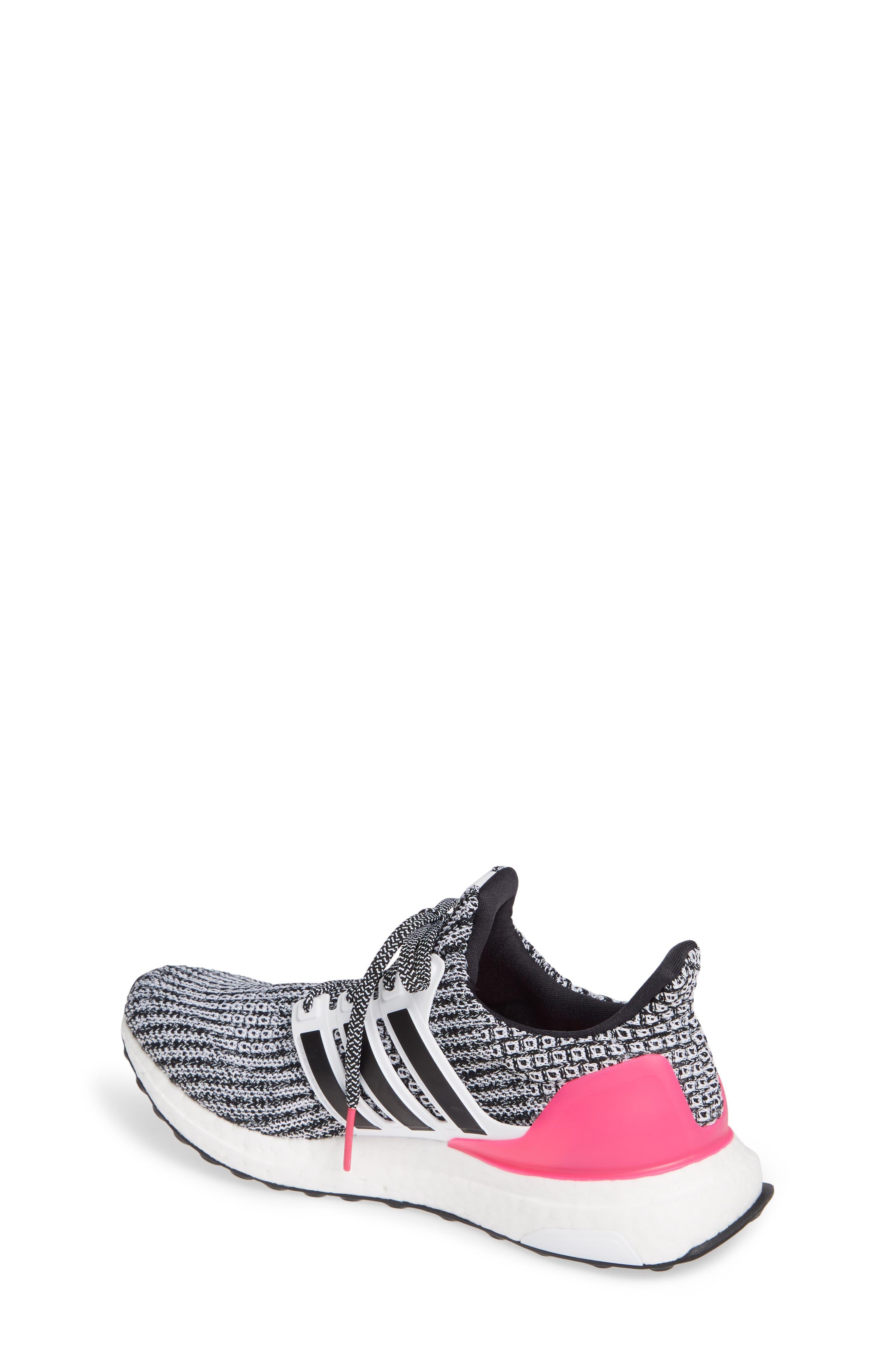 UltraBoost Sneaker,                             Alternate thumbnail 2, color,                             WHITE/ BLACK/ SHOCK PINK