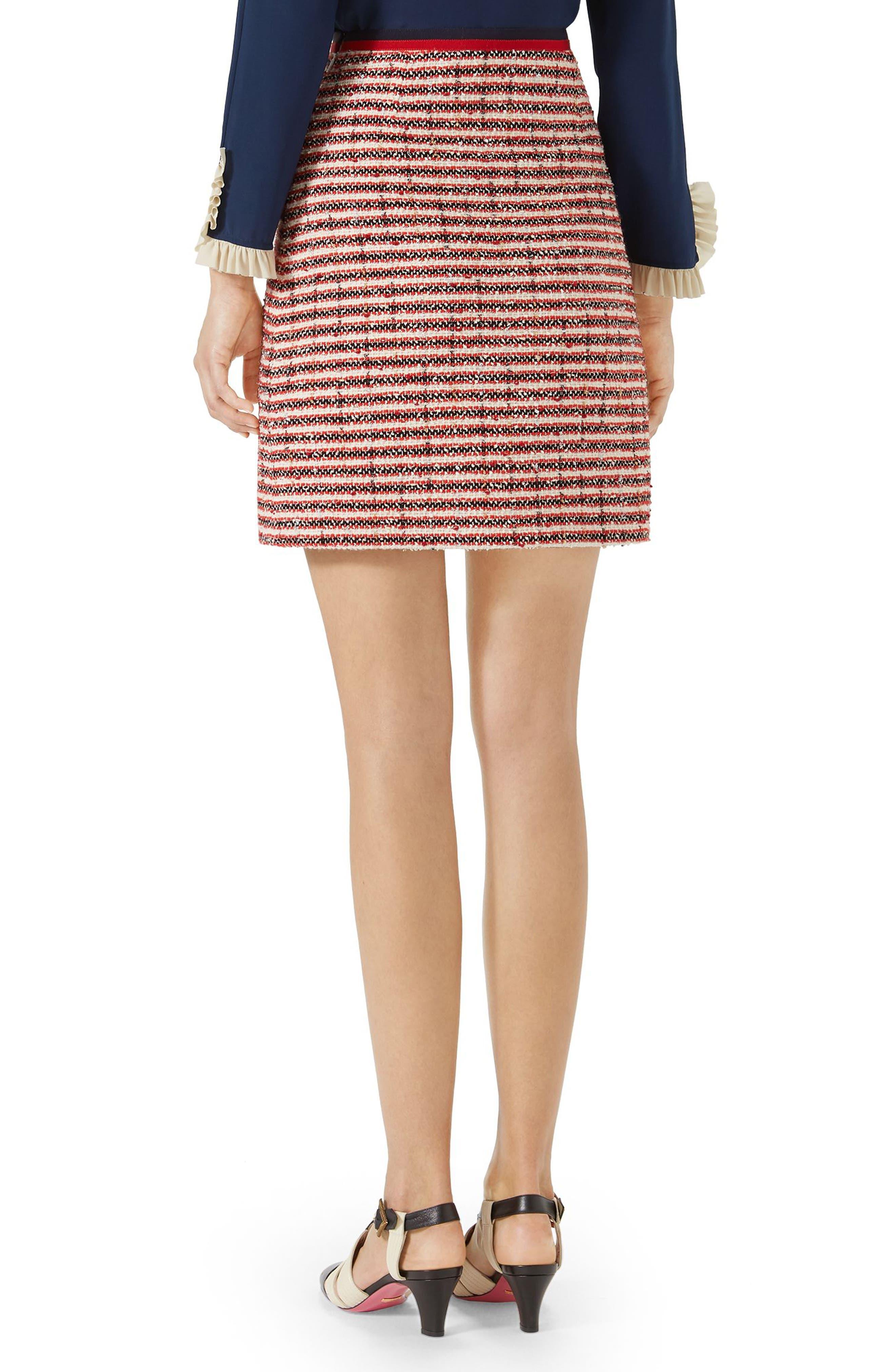 Stripe Tweed A-Line Skirt,                             Alternate thumbnail 2, color,                             GARDENIA-HIBISCUS RED STRIPE