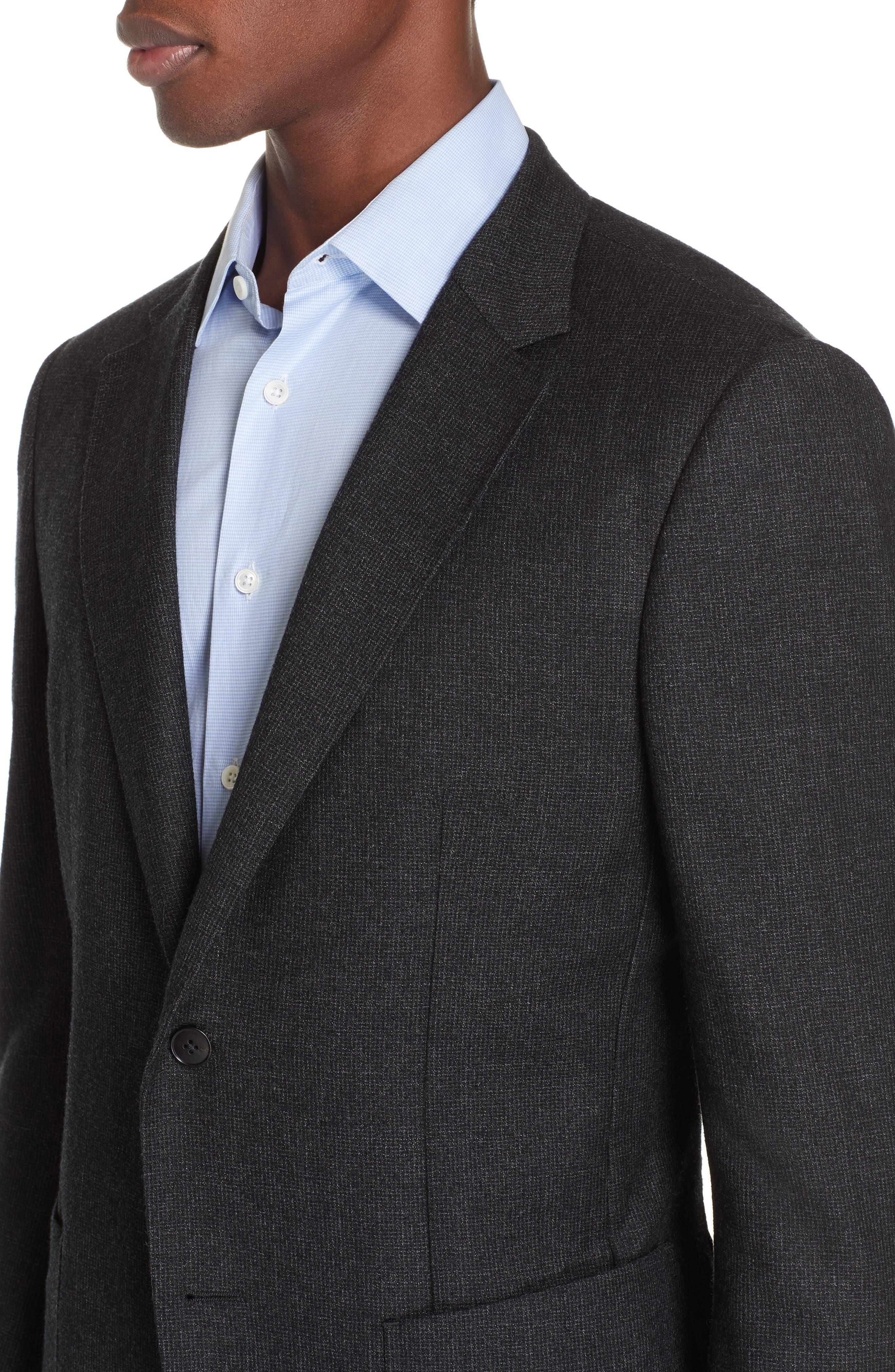 Trim Fit Wash & Go Solid Wool Suit,                             Alternate thumbnail 4, color,                             GREY
