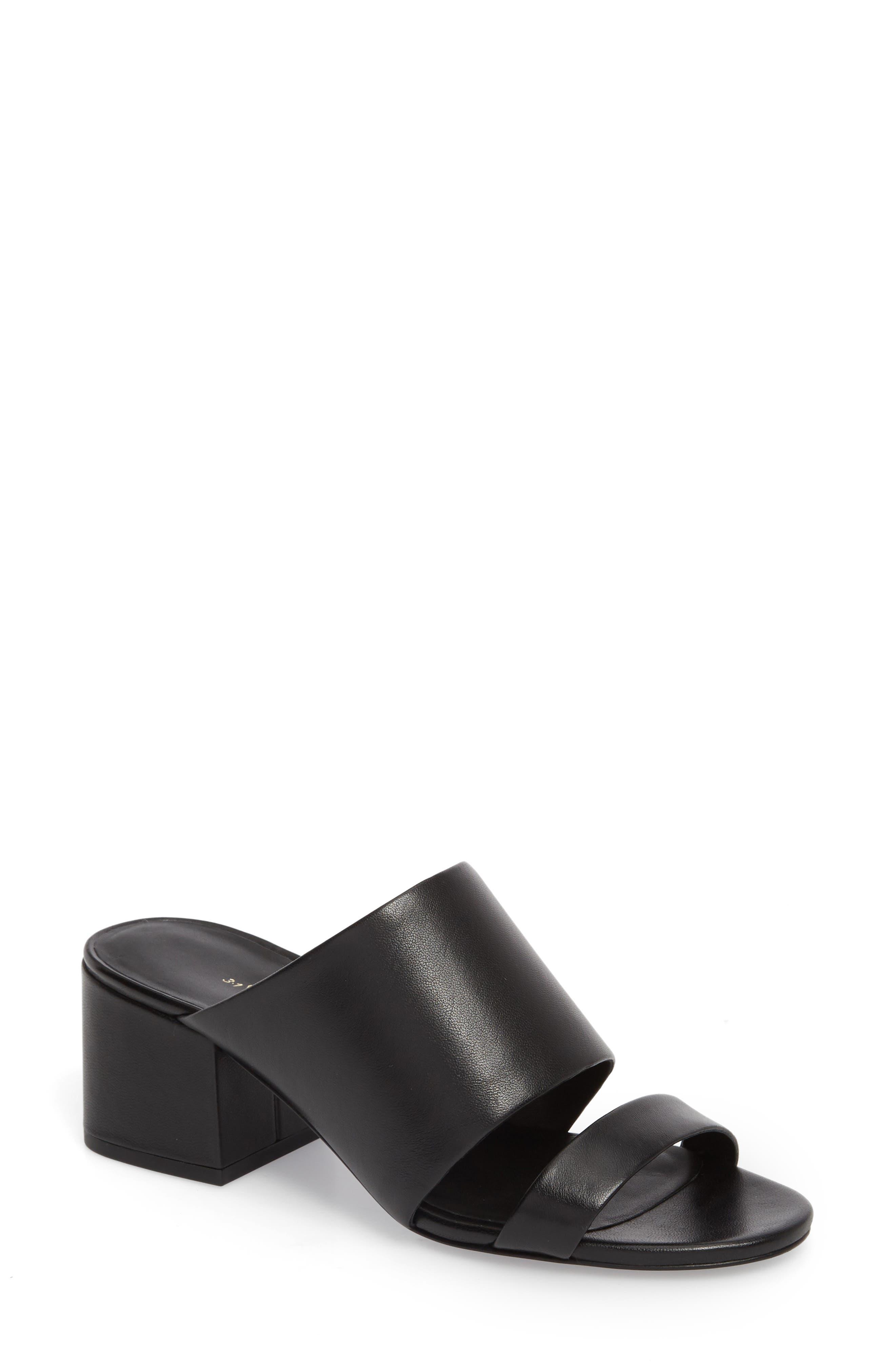 3.1 Phillip Lim Cube Strappy Slide Sandal, Black