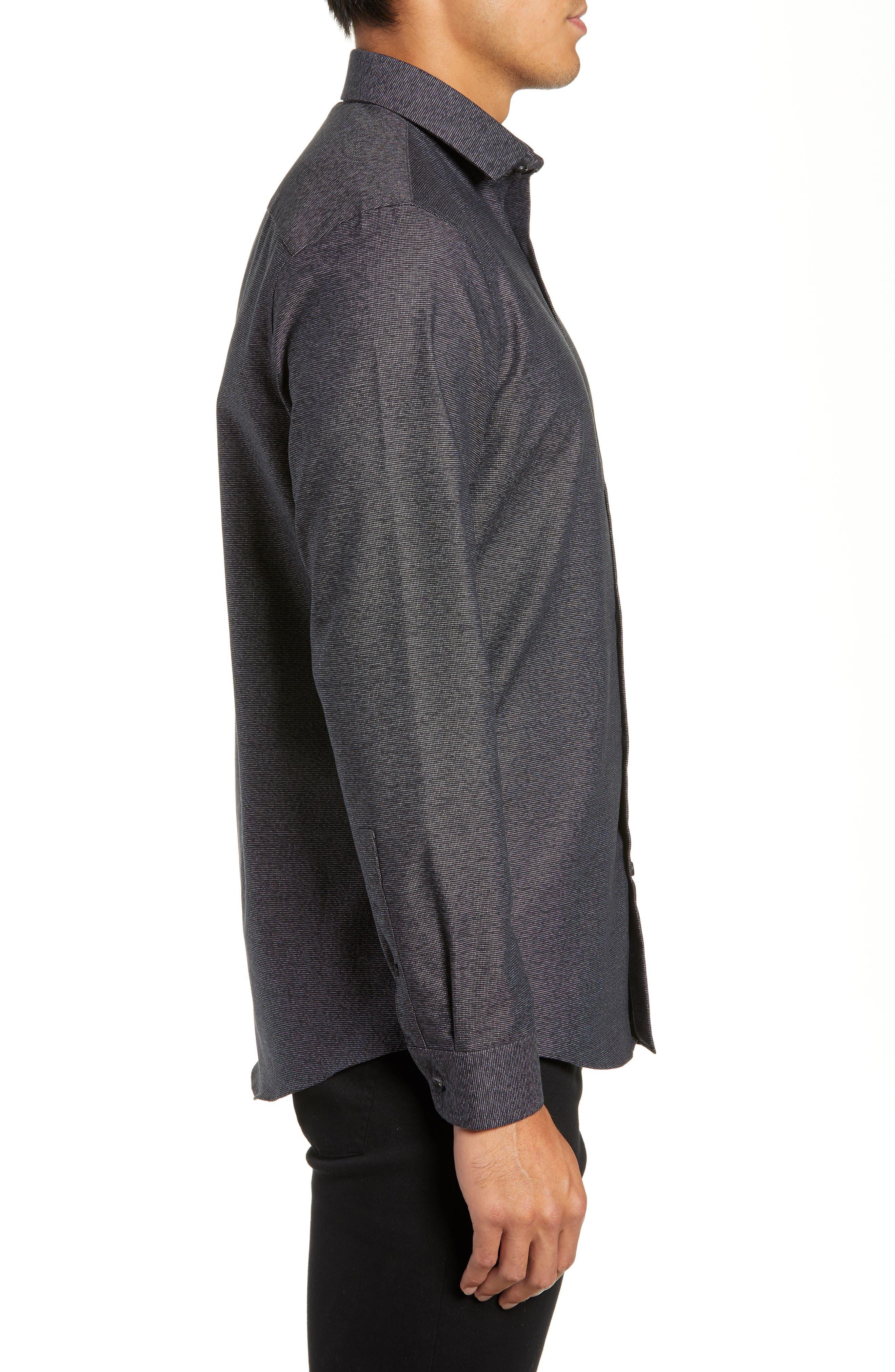 CALIBRATE,                             Slim Fit Non-Iron Textured Sport Shirt,                             Alternate thumbnail 4, color,                             001
