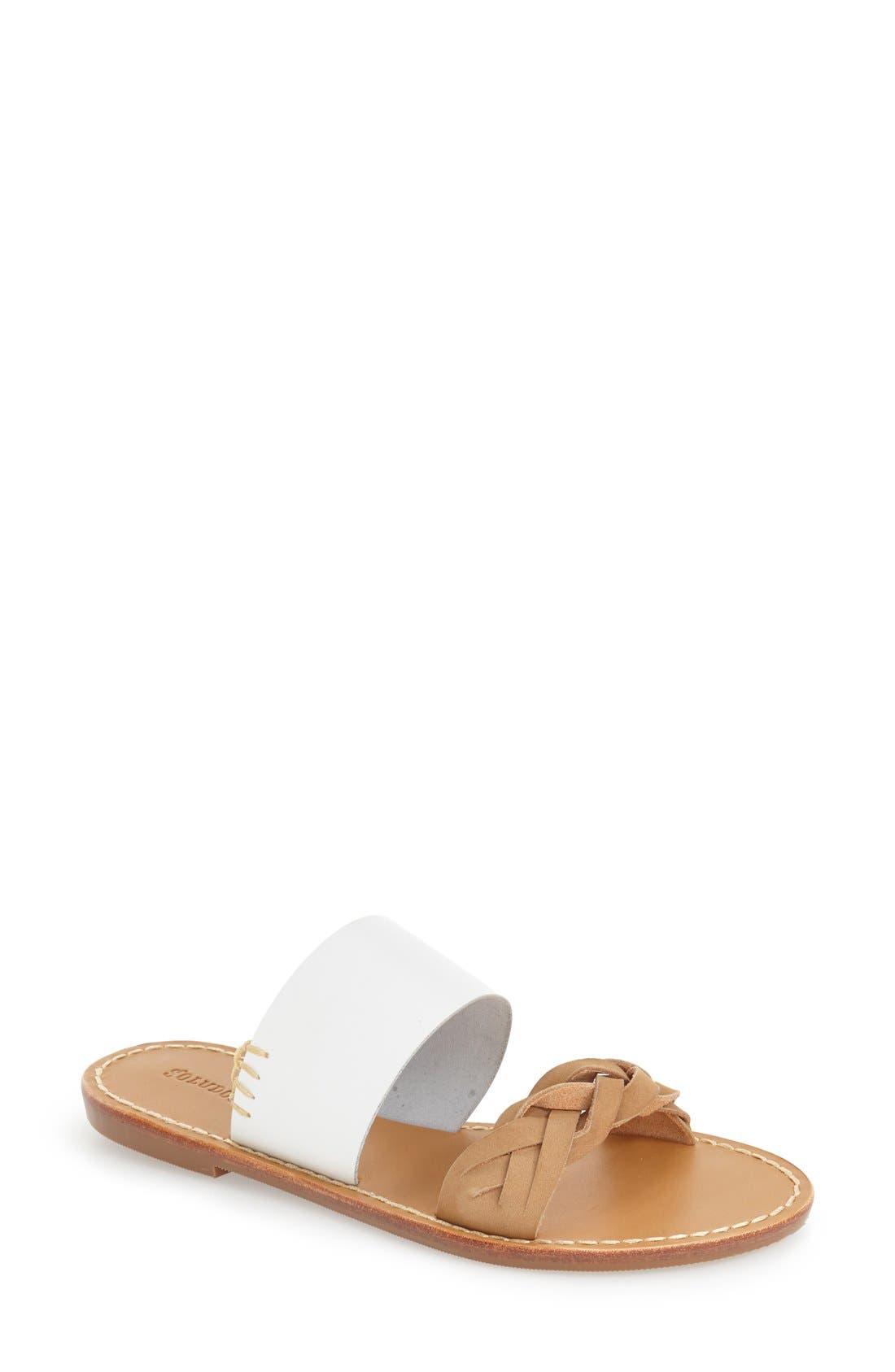 Slide Sandal,                         Main,                         color, WHITE LEATHER