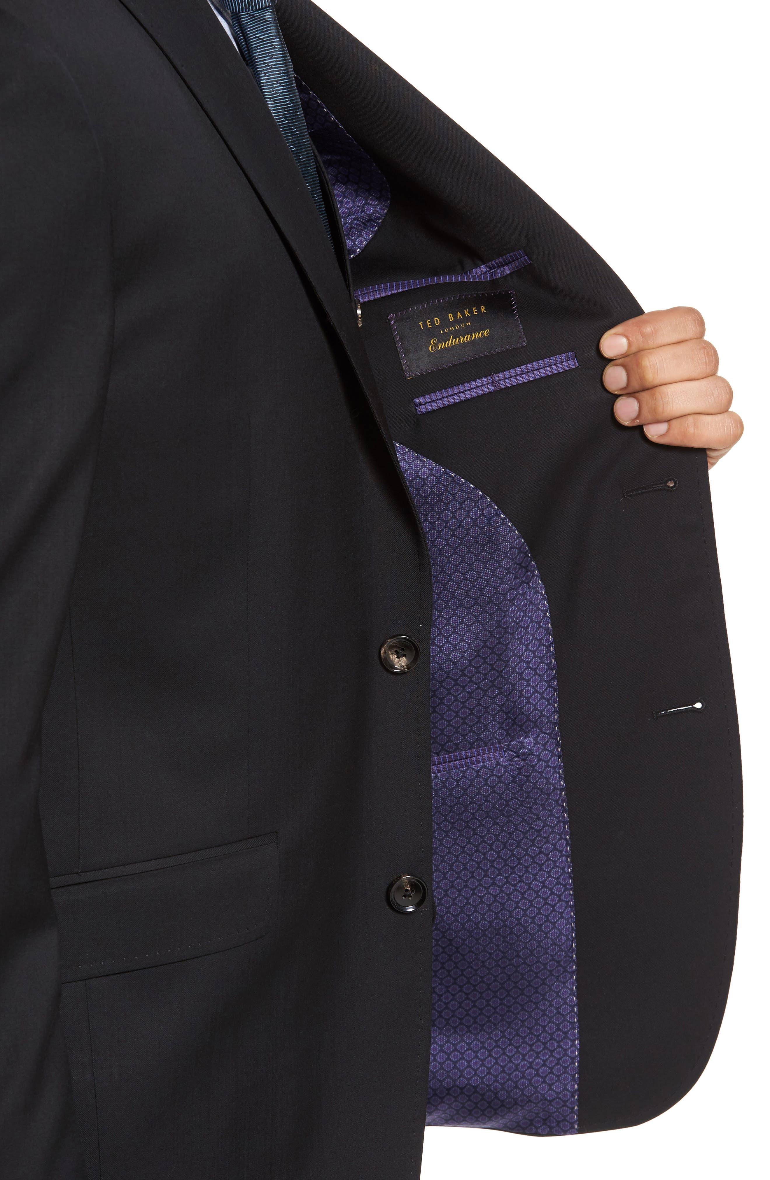 Jones Trim Fit Wool Suit,                             Alternate thumbnail 4, color,                             001