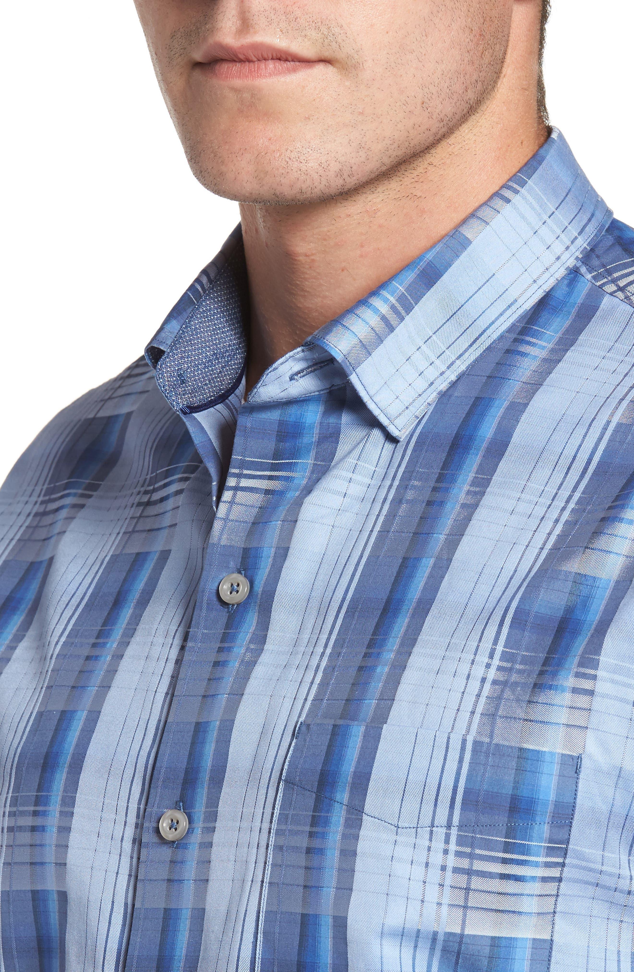 Shadow Ridge Check Cotton & Silk Sport Shirt,                             Alternate thumbnail 4, color,