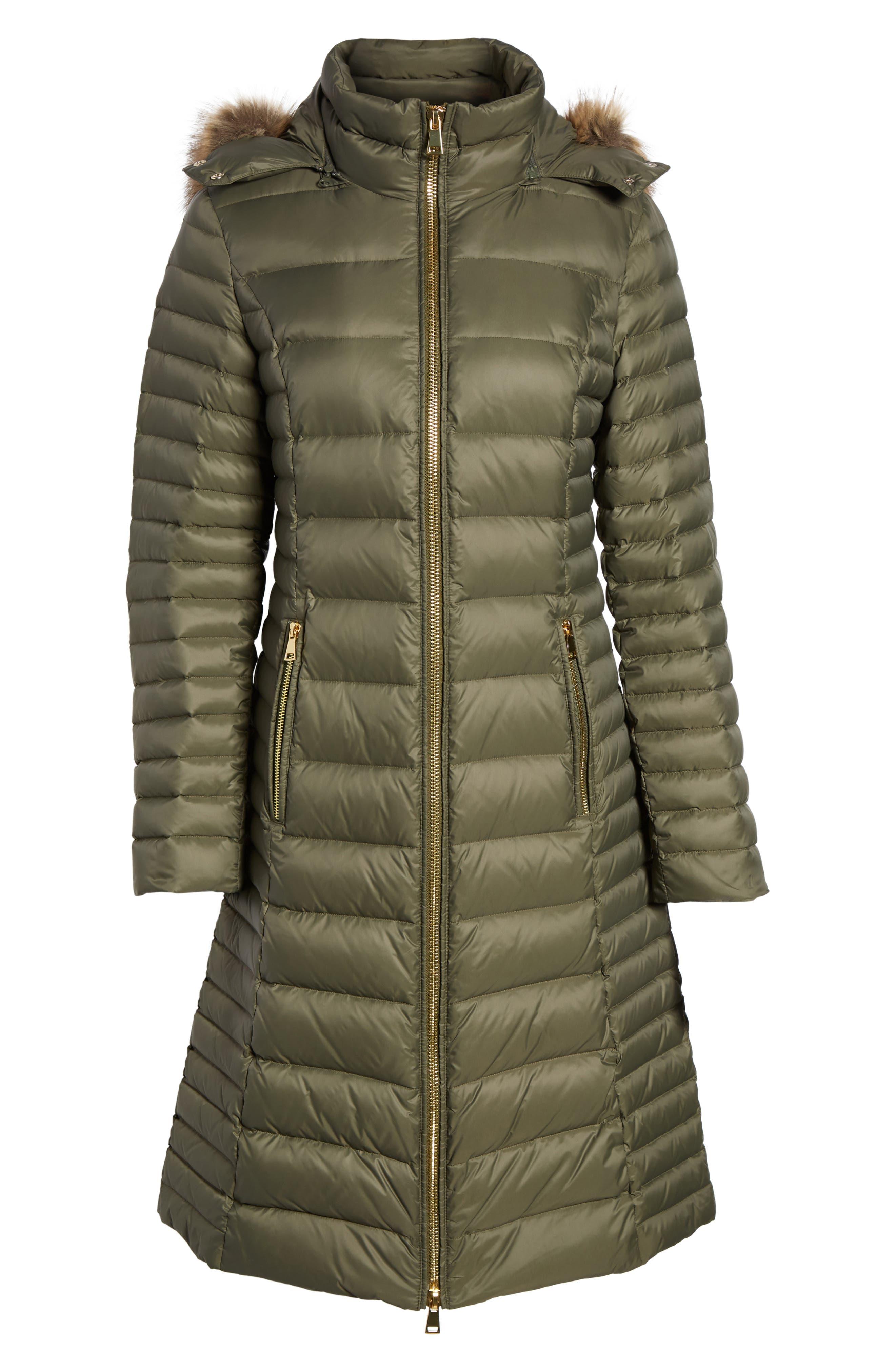 down puffer coat with faux fur trim,                             Alternate thumbnail 14, color,