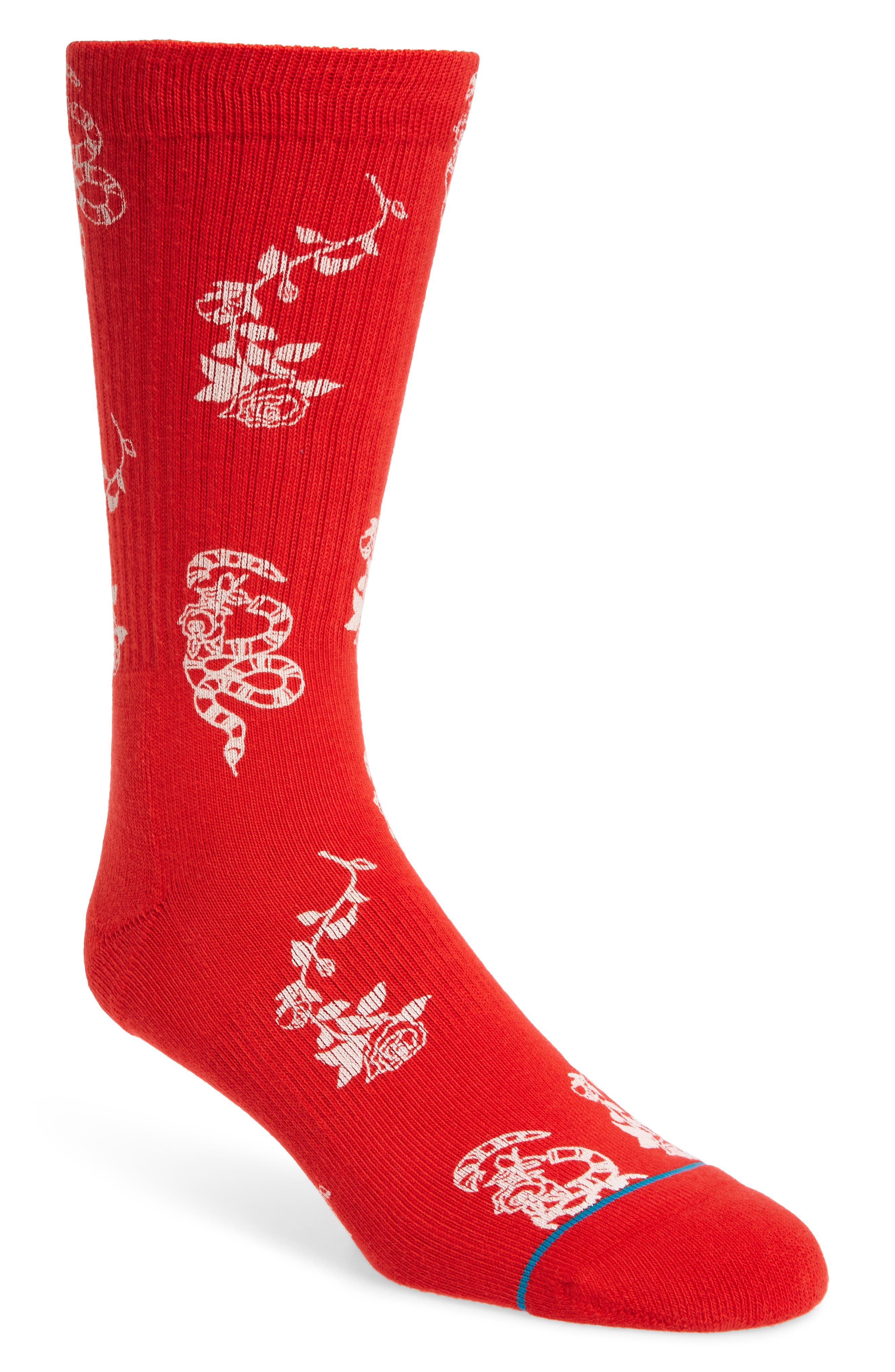 Rossa Floral Socks,                             Main thumbnail 1, color,                             RED