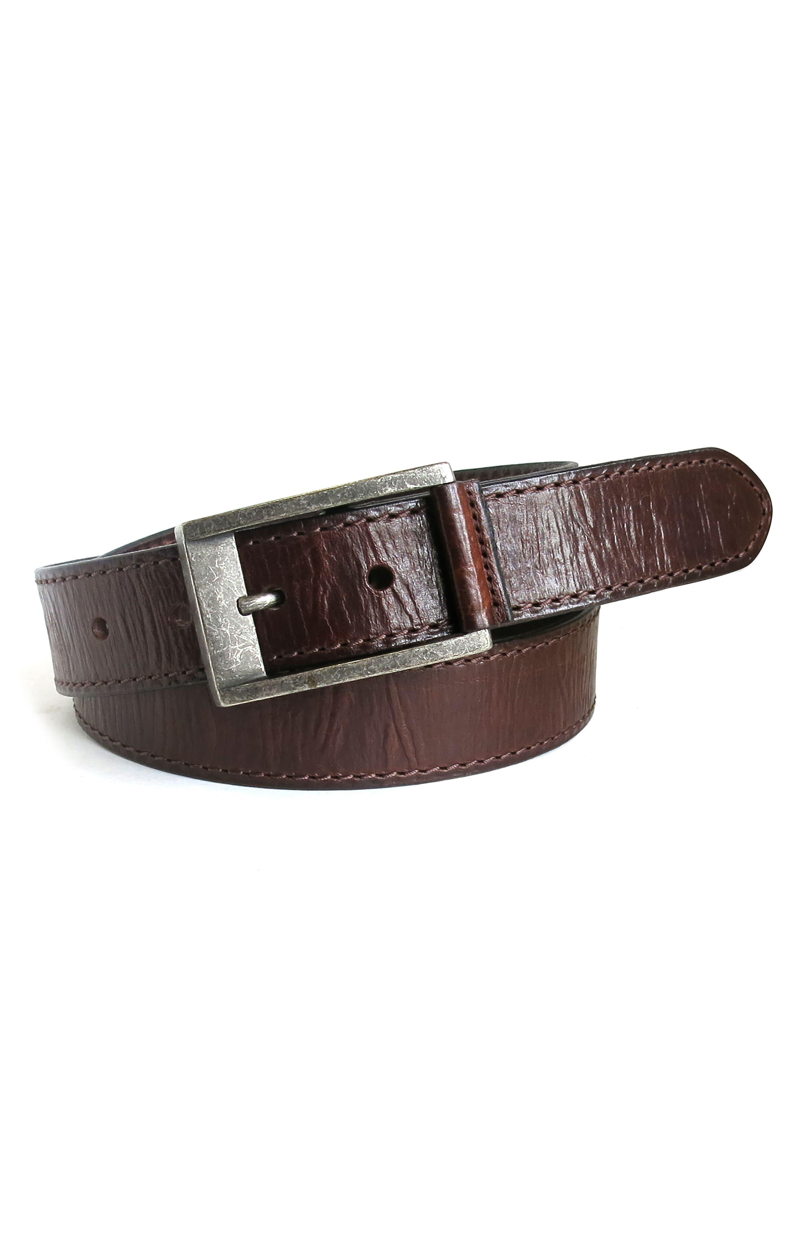 BOCONI,                             Burnished Calfskin Leather Belt,                             Alternate thumbnail 3, color,                             CHESTNUT