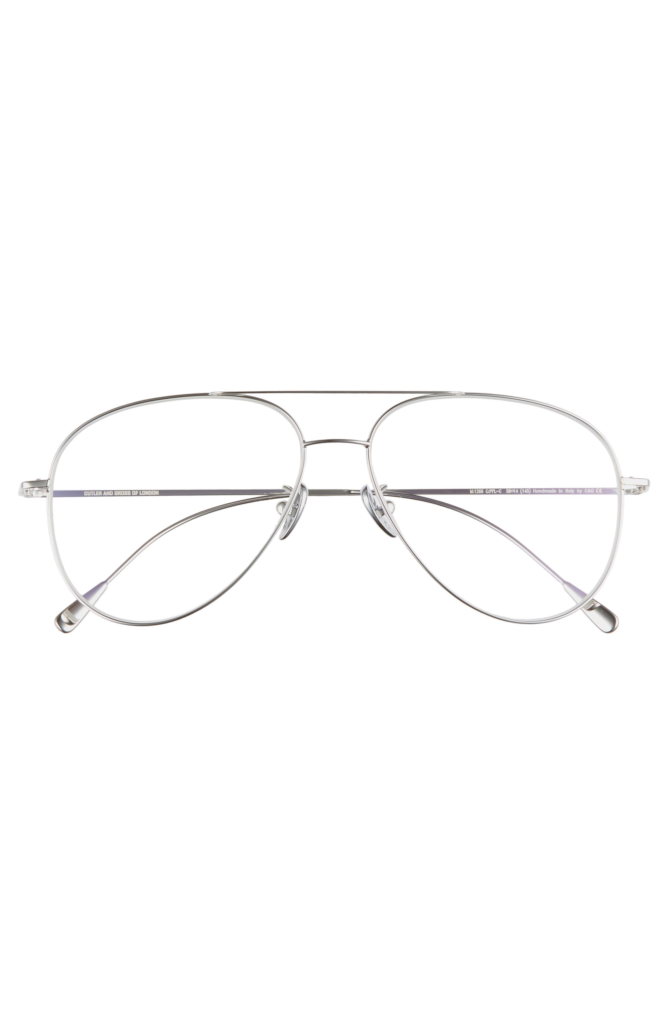 58mm Polarized Aviator Optical Glasses,                             Alternate thumbnail 2, color,                             PALLADIUM