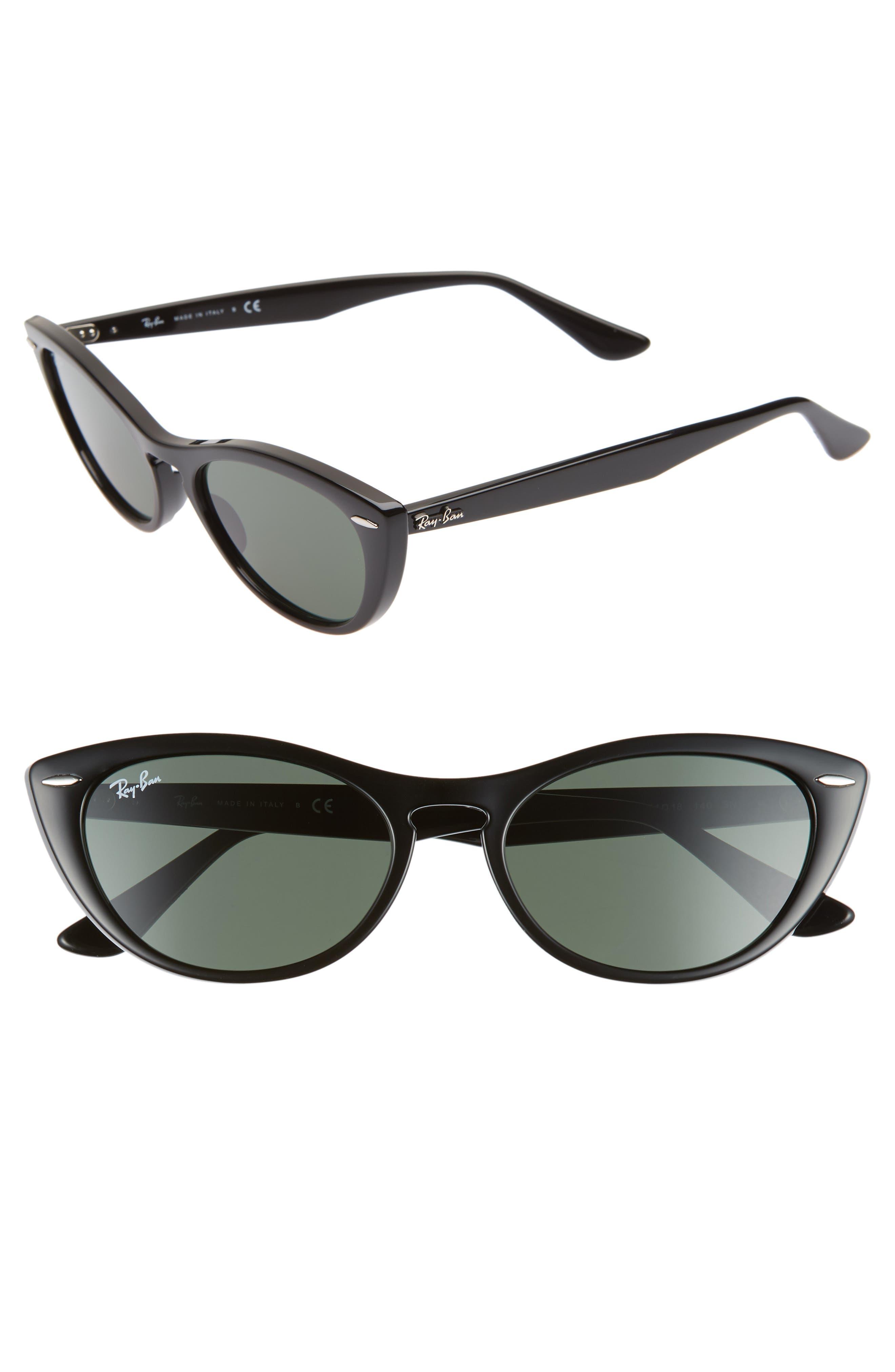 Nina 54mm Cat Eye Sunglasses,                         Main,                         color, BLACK/ GREEN SOLID