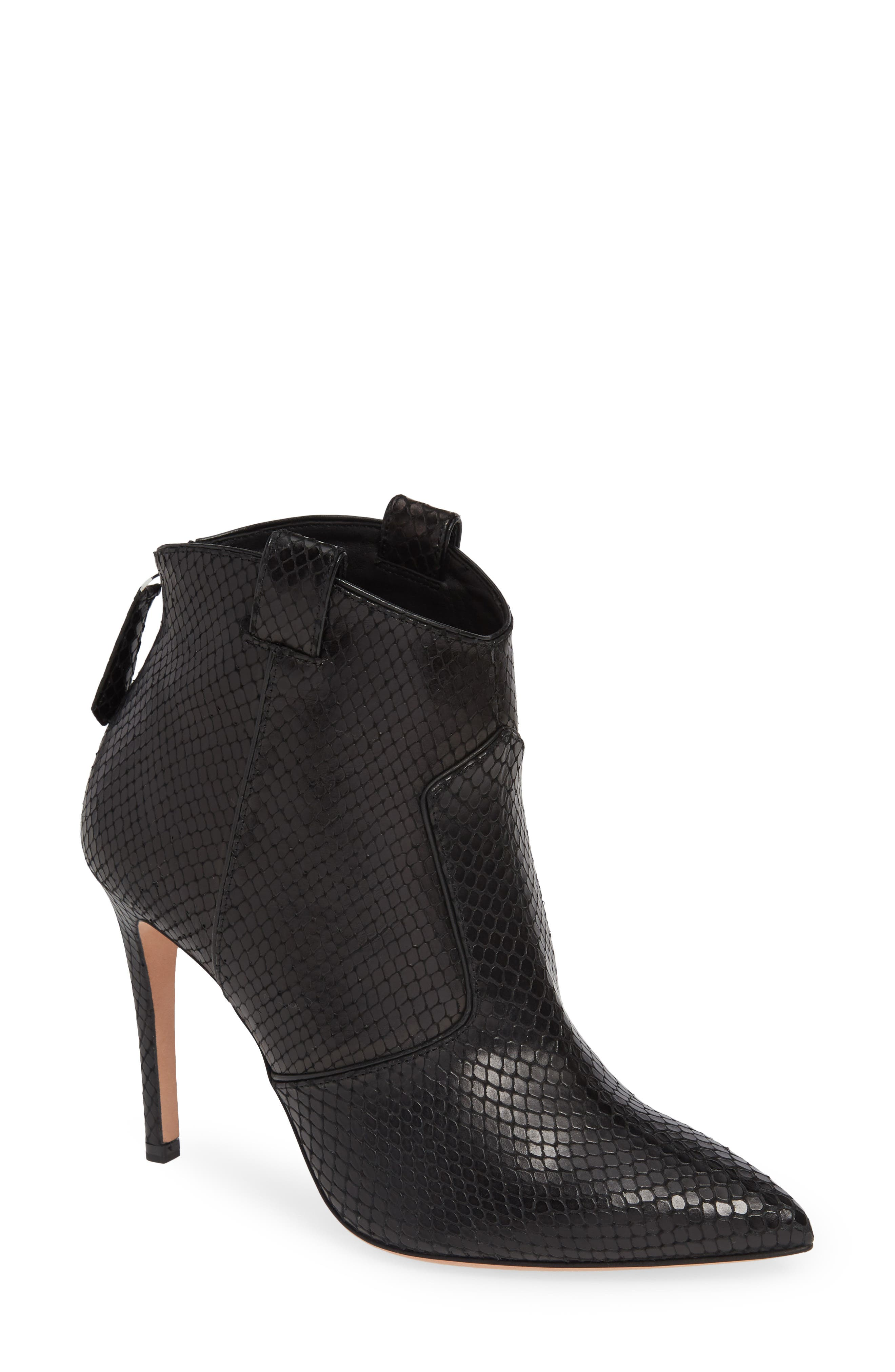 Loretta Embossed Leather Western Booties in Black