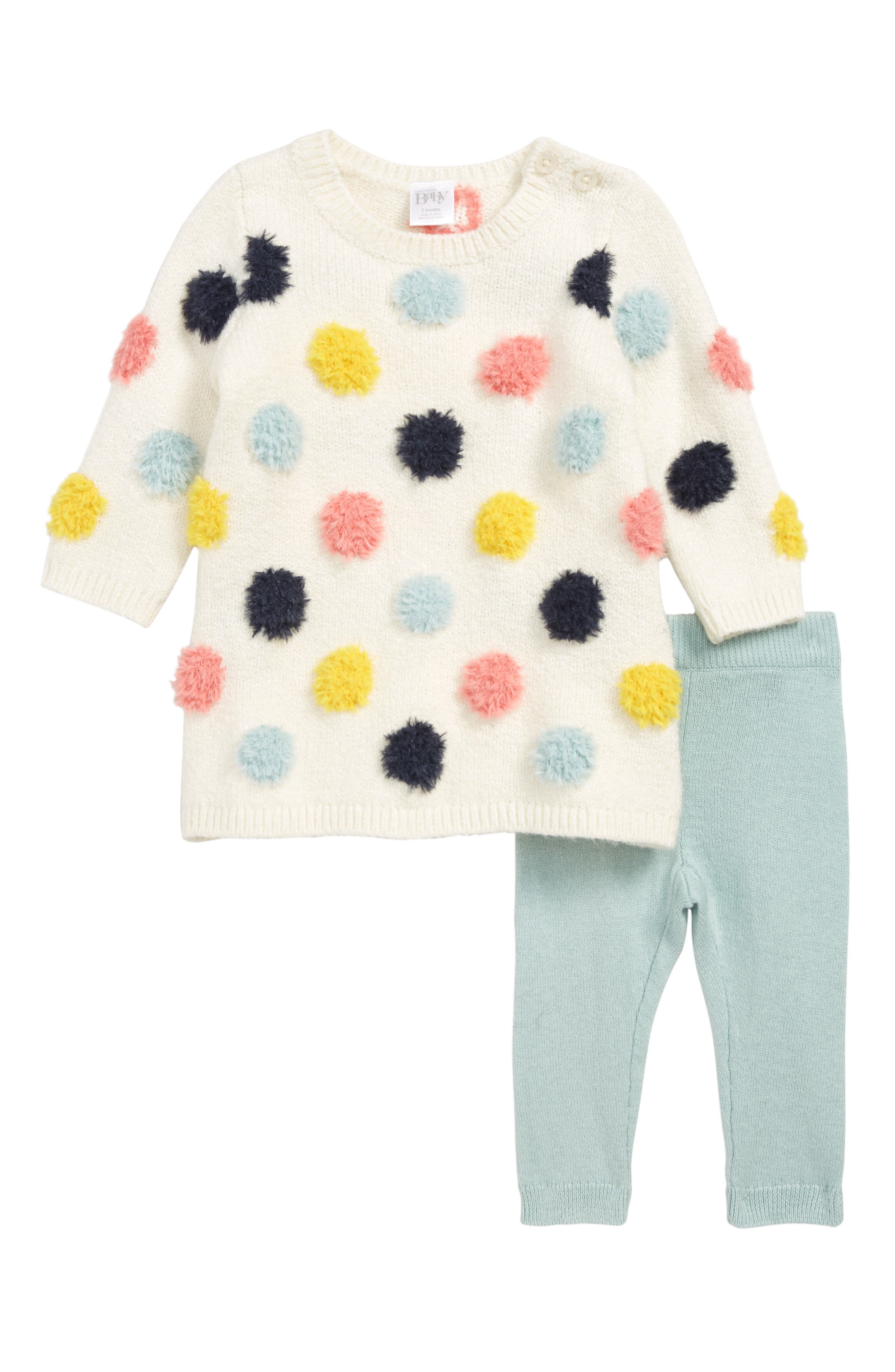 NORDSTROM BABY Dotted Sweater Dress & Leggings Set, Main, color, IVORY VANILLA MULTI DOT