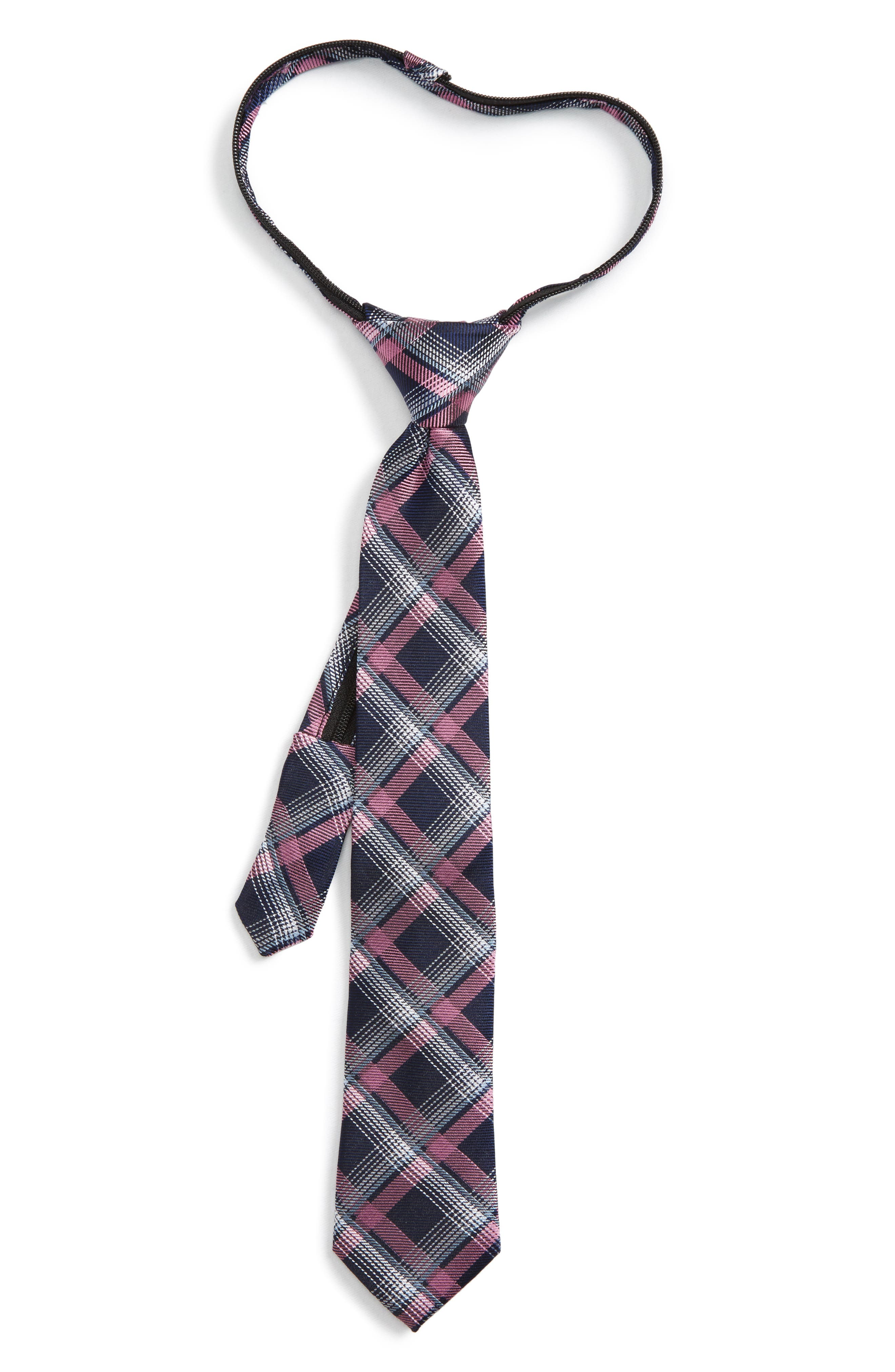 Plaid Silk Zip Tie,                             Main thumbnail 7, color,