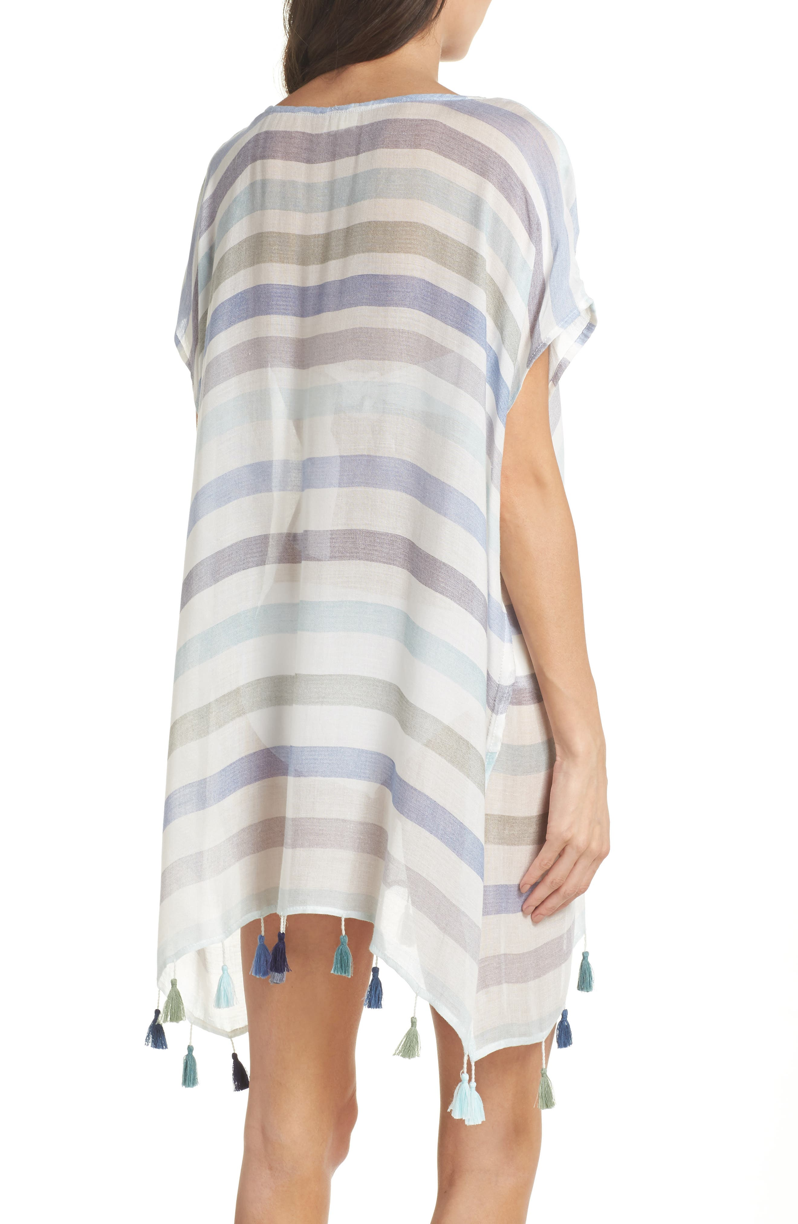 Stripe Tassel Cover-Up Tunic,                             Alternate thumbnail 2, color,                             GYPSY BLUE