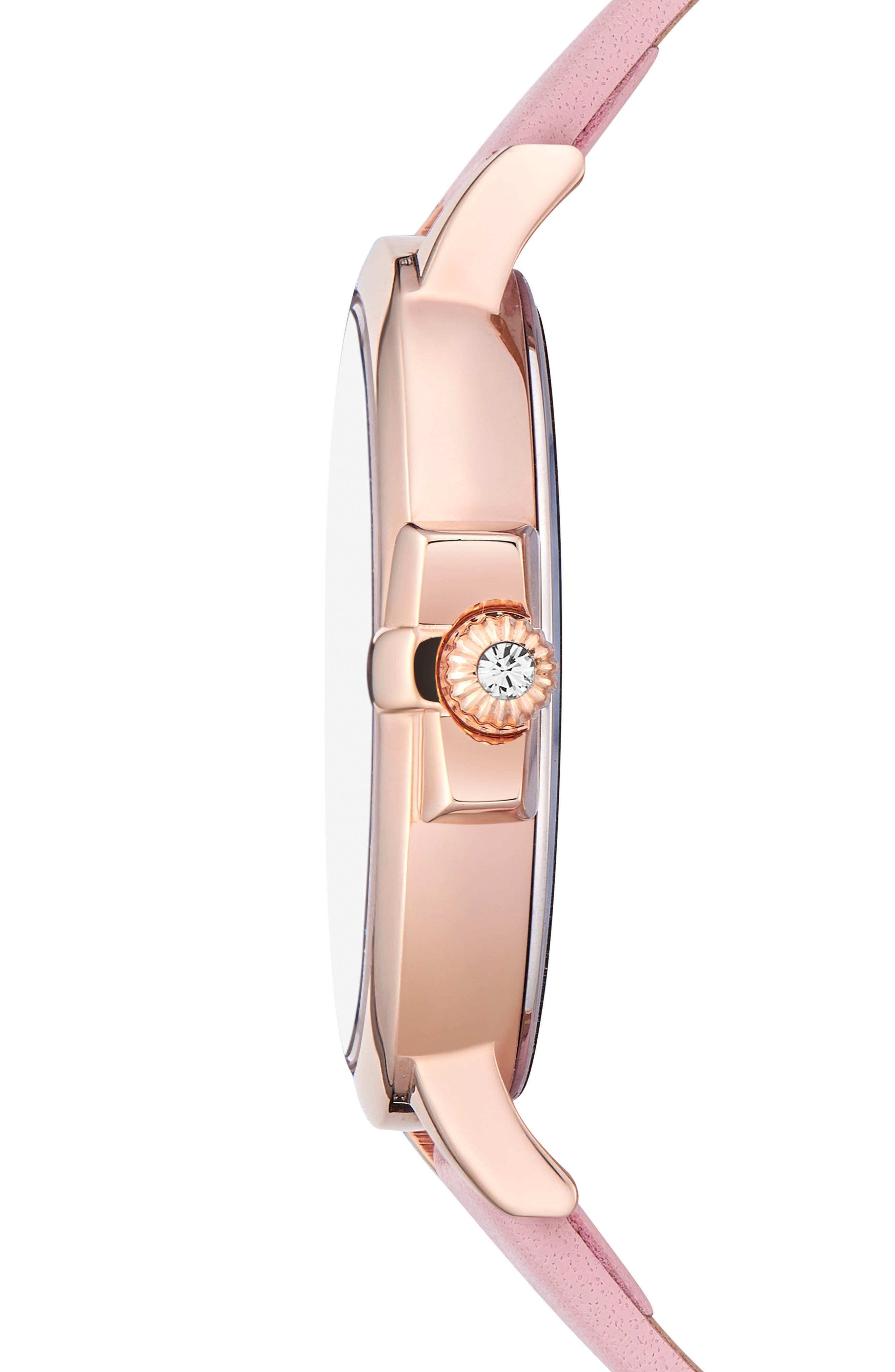 Leather Strap Watch, 36mm,                             Alternate thumbnail 3, color,                             PINK/ PRINTED/ ROSE GOLD