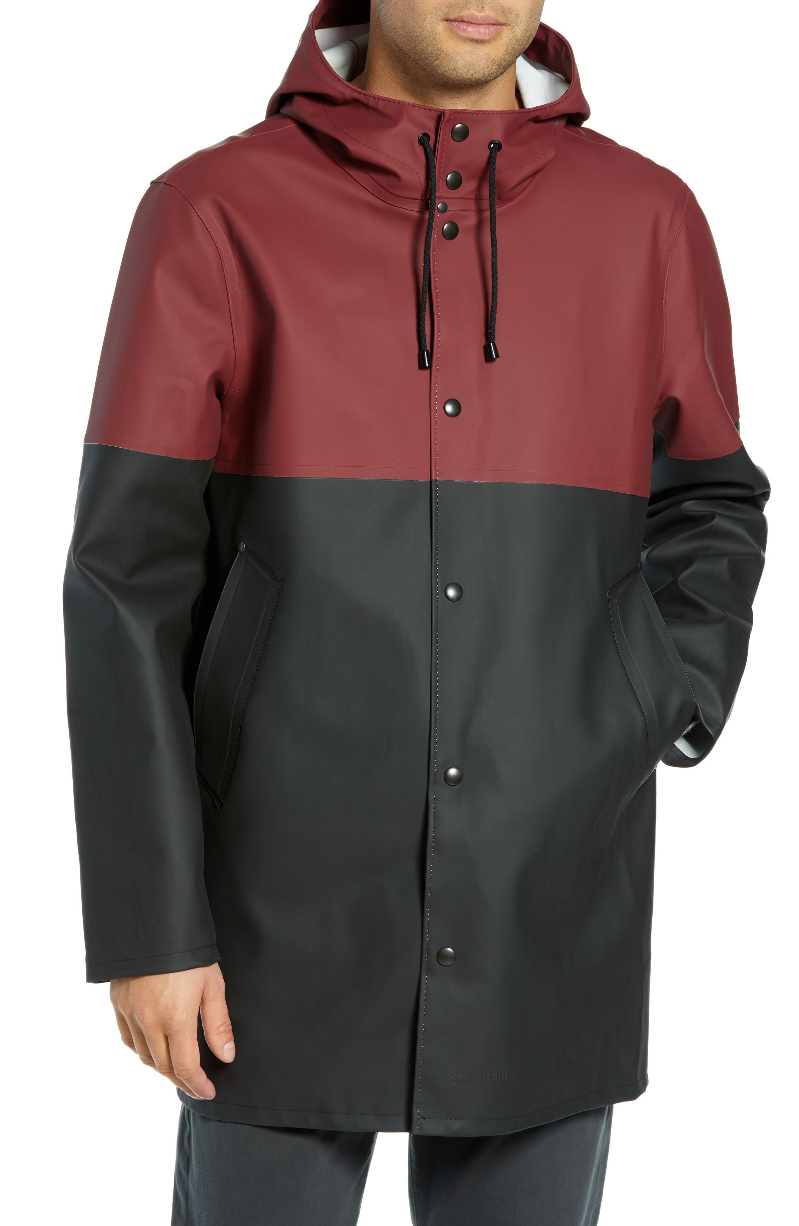 Stockholm Colorblock Waterproof Hooded Raincoat,                             Alternate thumbnail 4, color,                             BURGUNDY/ BLACK