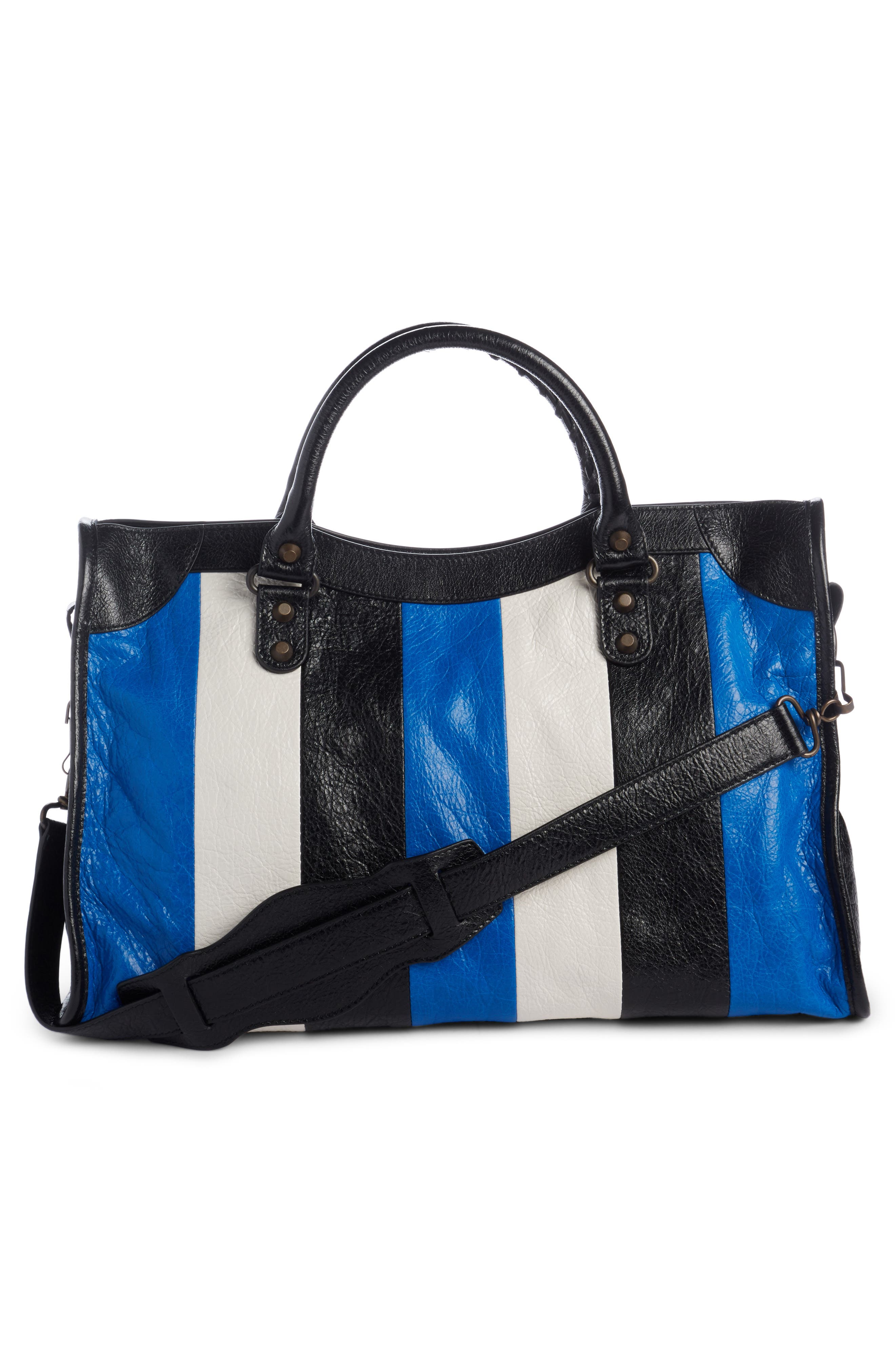 Classic City Stripe Leather Tote,                             Alternate thumbnail 2, color,