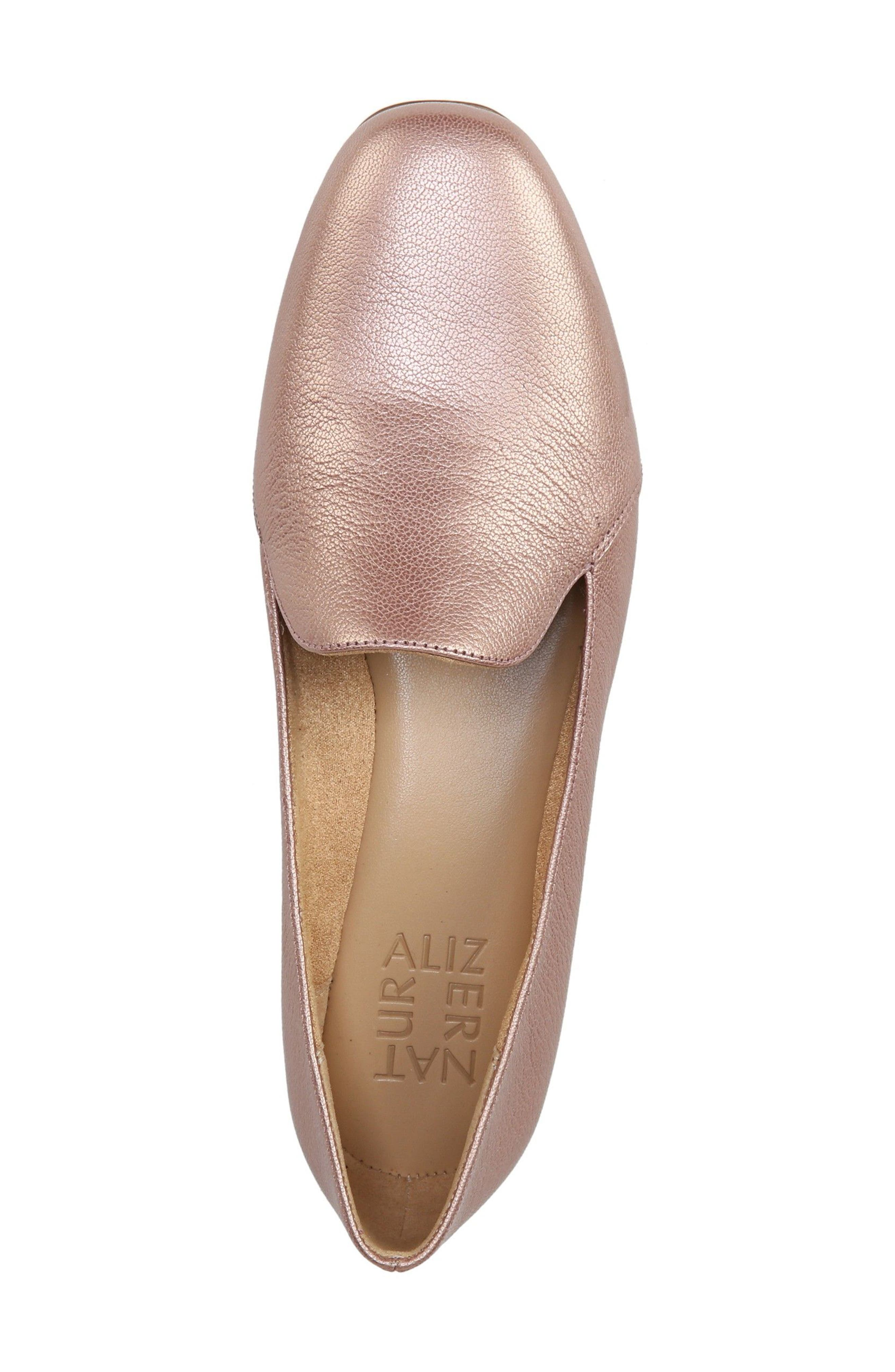 Emiline Flat Loafer,                             Alternate thumbnail 5, color,                             ROSE GOLD LEATHER