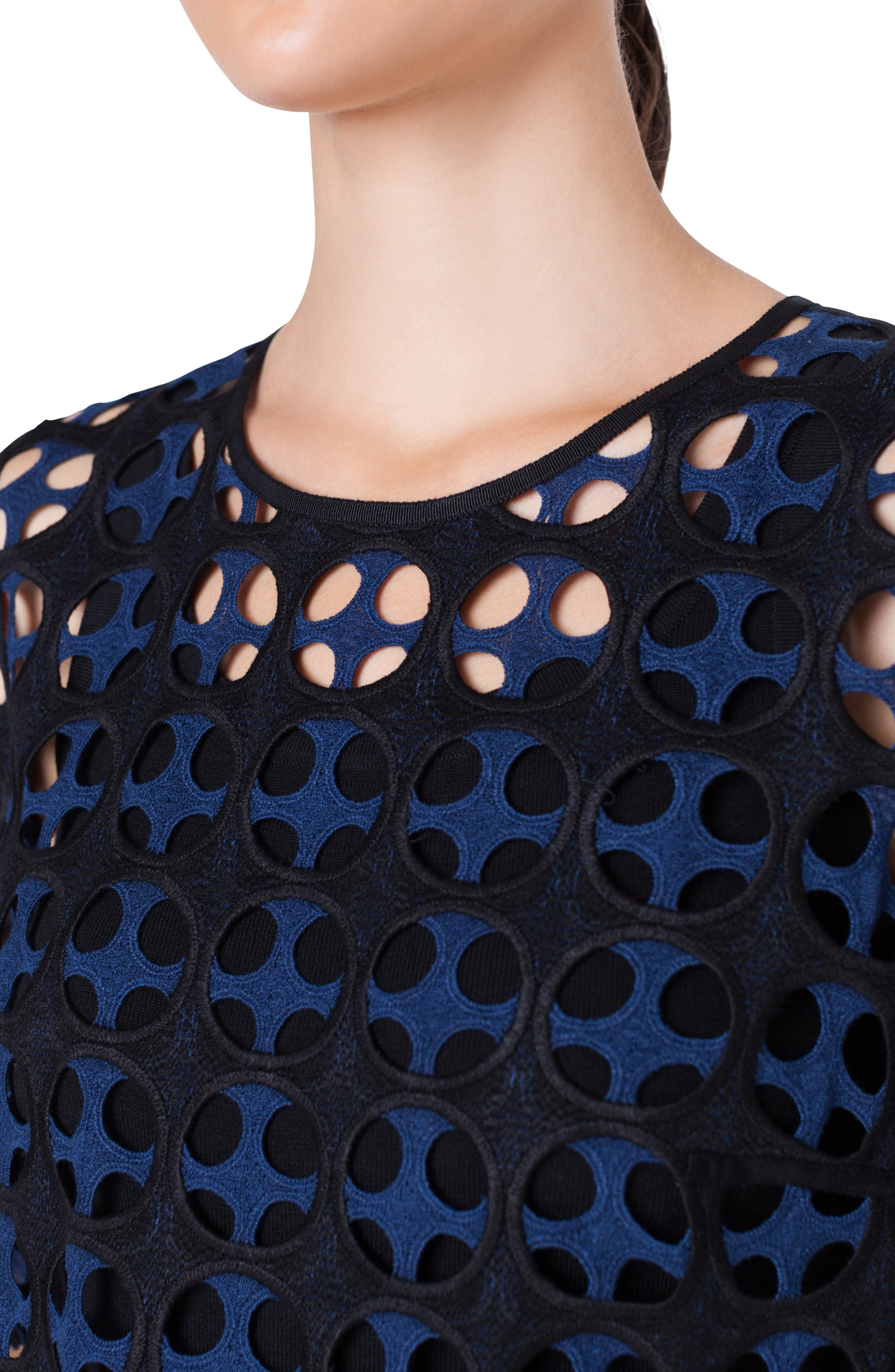 AKRIS PUNTO,                             Laser Cut Lace Blouse,                             Alternate thumbnail 3, color,                             NERO-BLU MARE