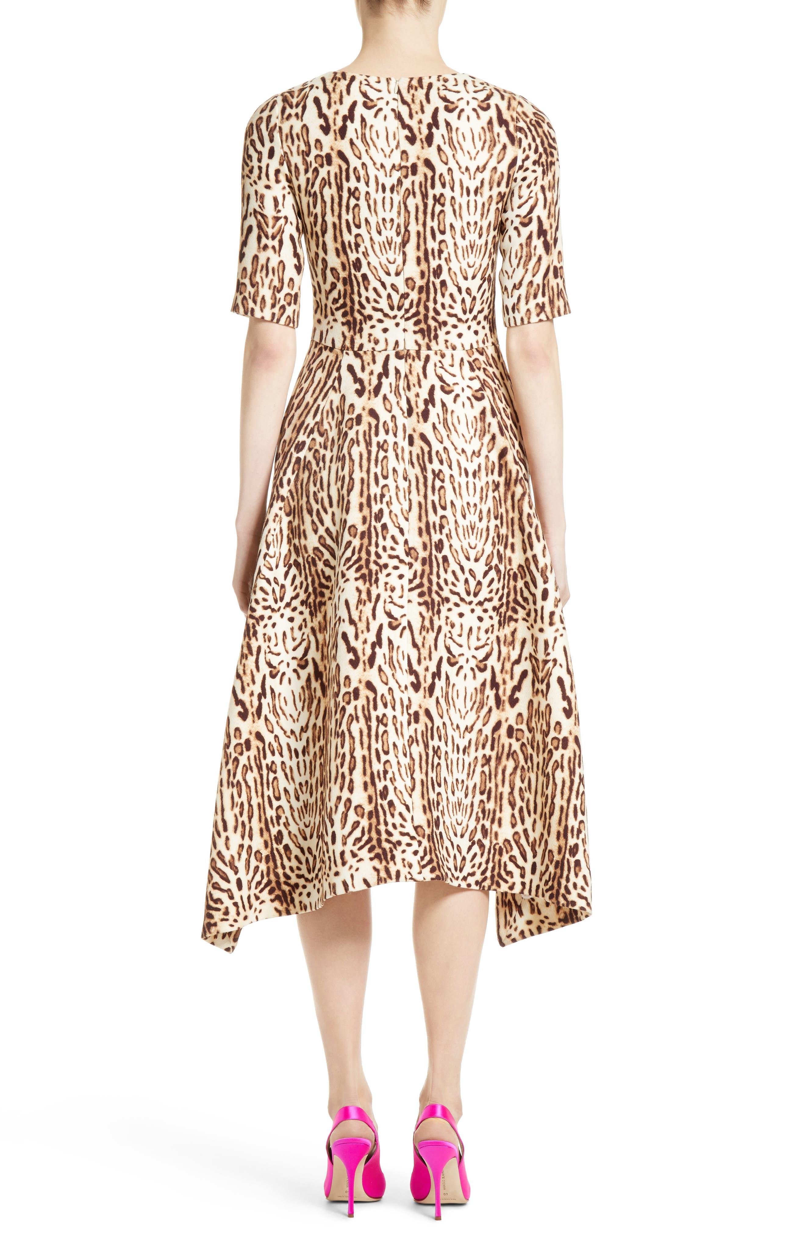 Ocelot Print Wool Midi Dress,                             Alternate thumbnail 2, color,
