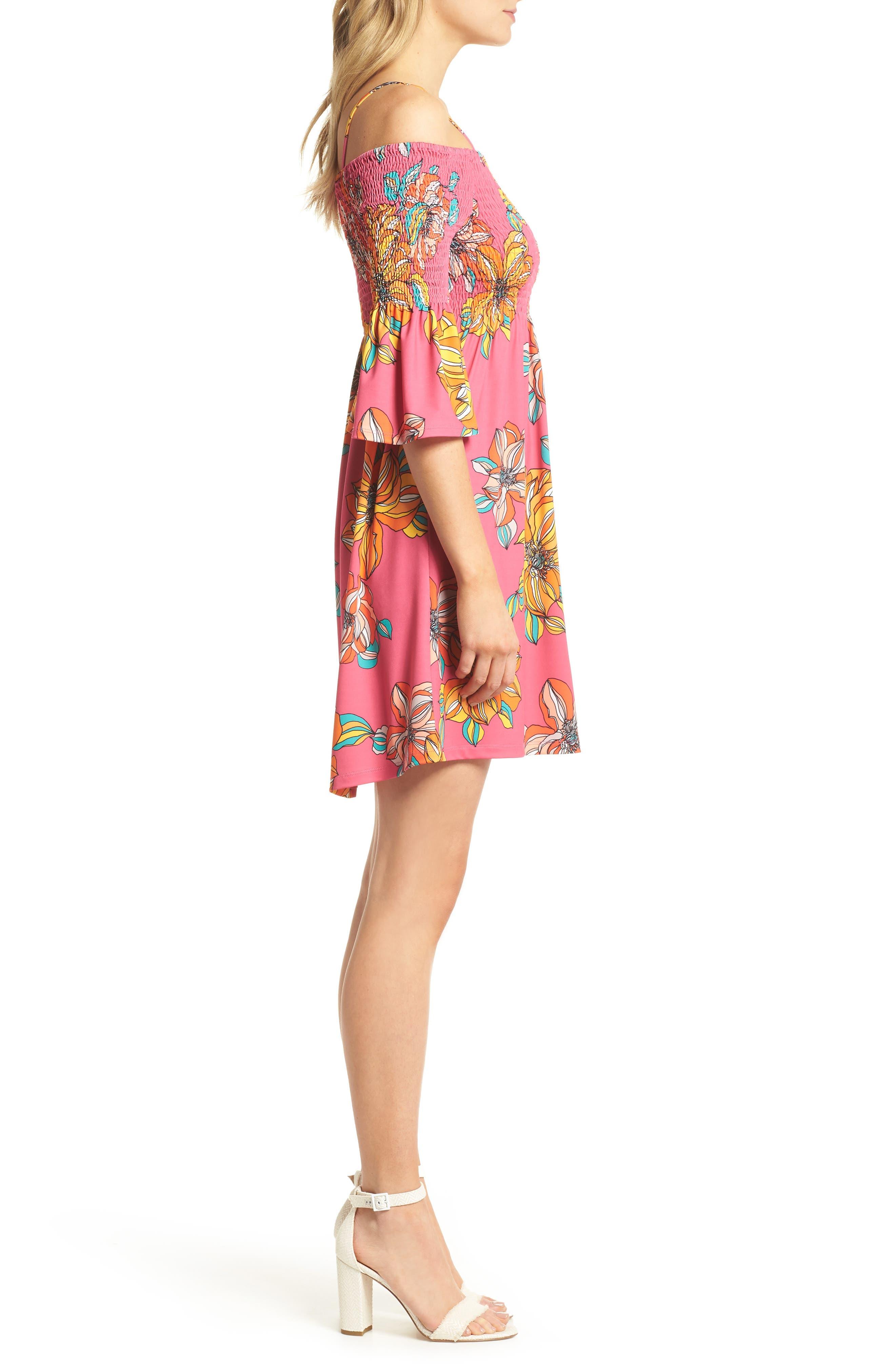 Ventana Cold Shoulder Babydoll Dress,                             Alternate thumbnail 3, color,