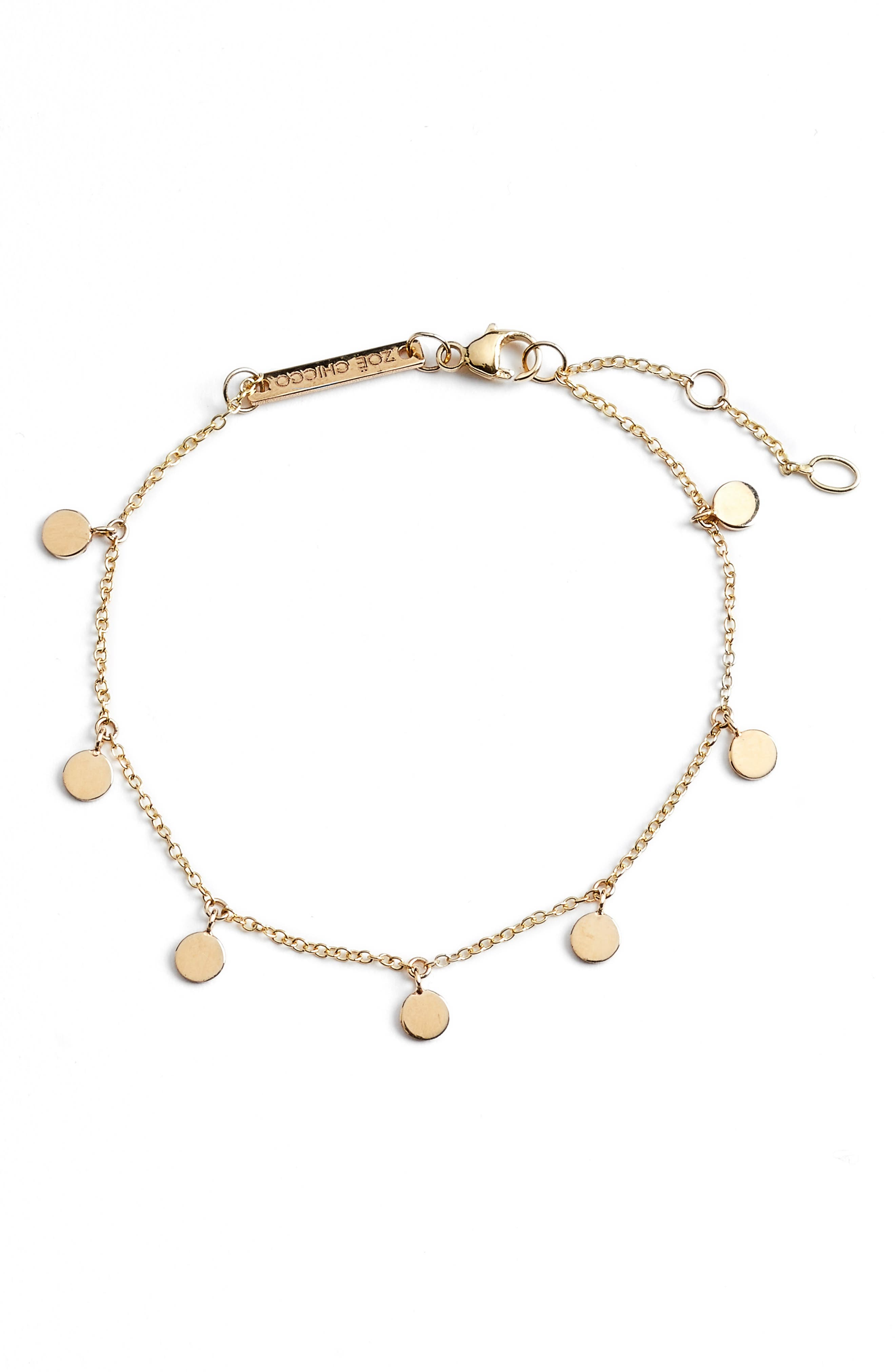 Itty Bitty Round Disc Charm Bracelet,                         Main,                         color, YELLOW GOLD