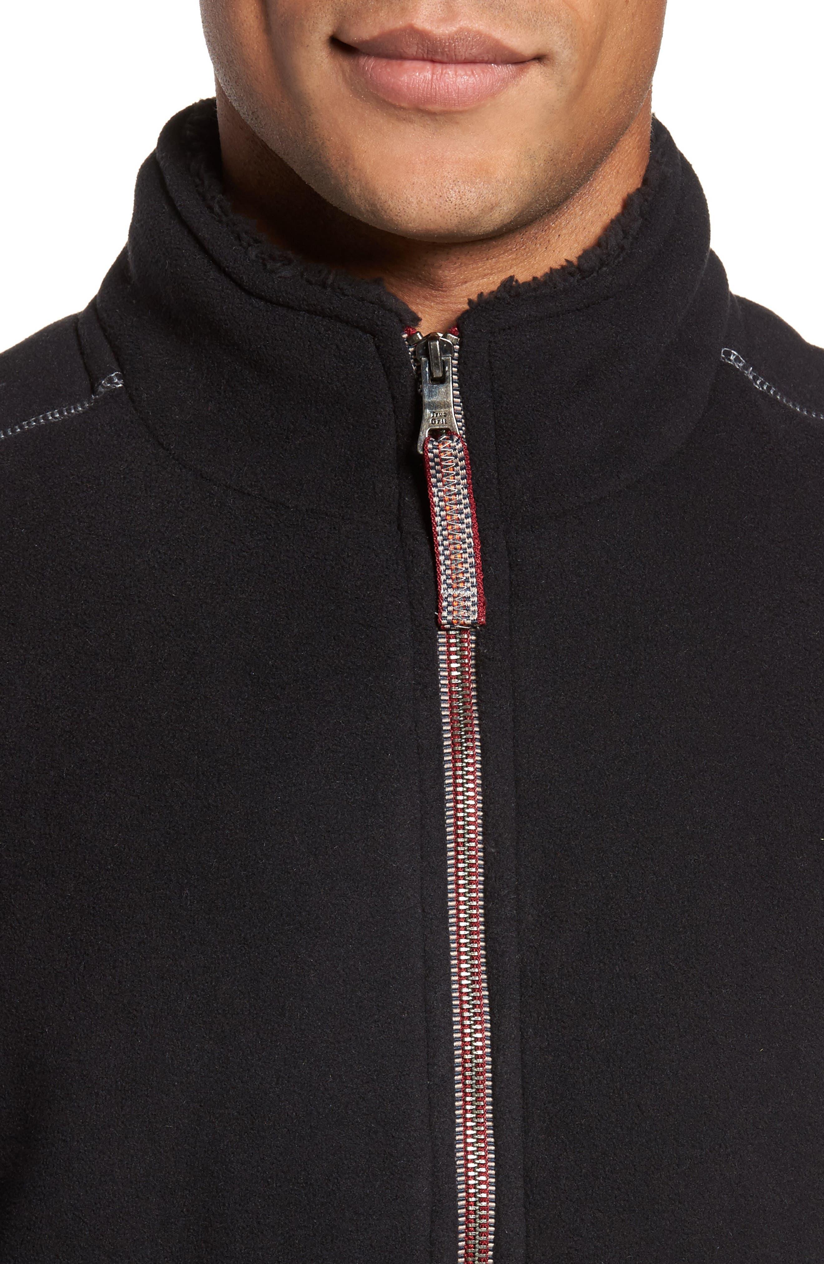 Bonded Fleece Zip Front Vest,                             Alternate thumbnail 4, color,                             001