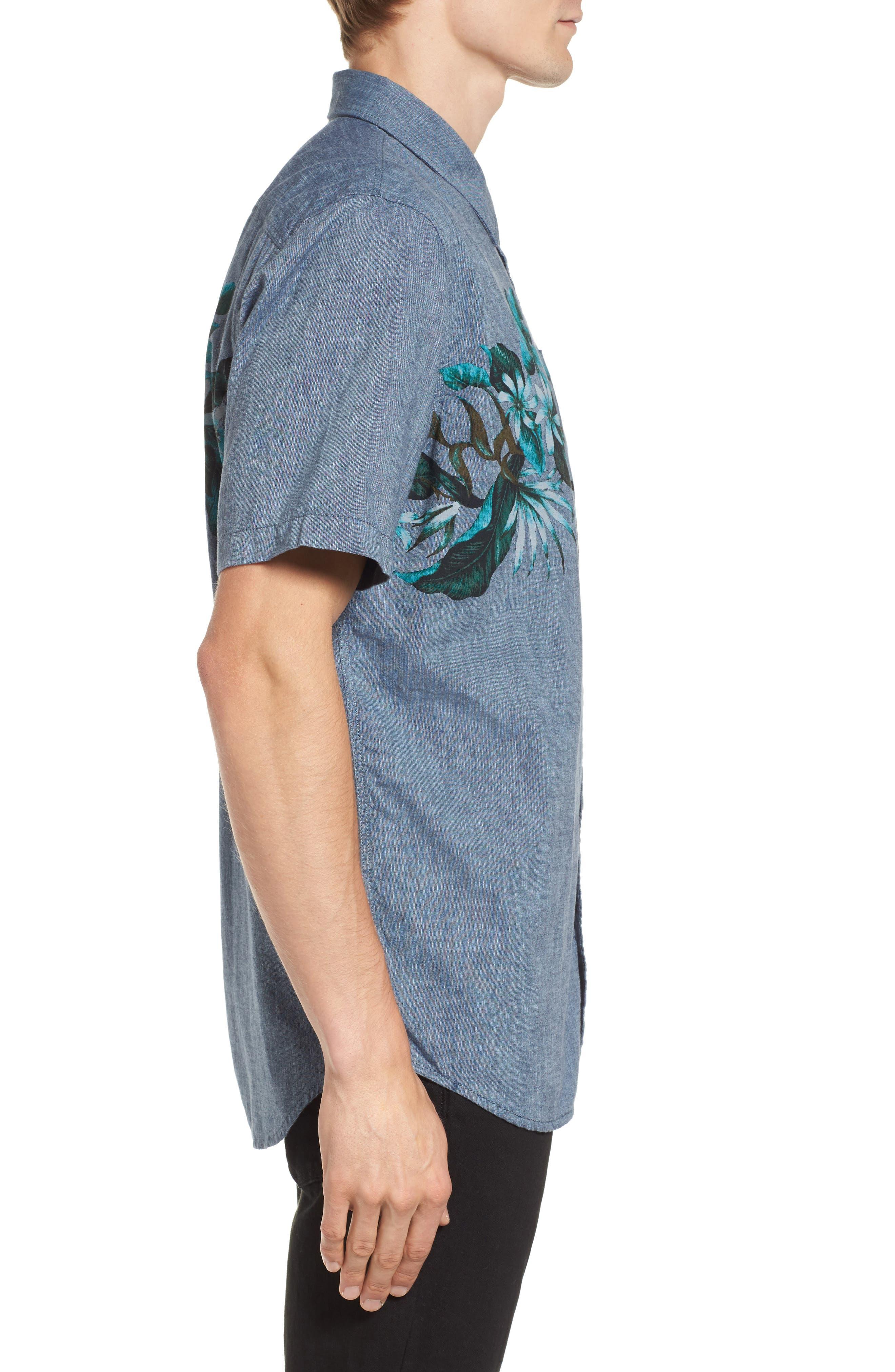 Floral Woven Shirt,                             Alternate thumbnail 3, color,