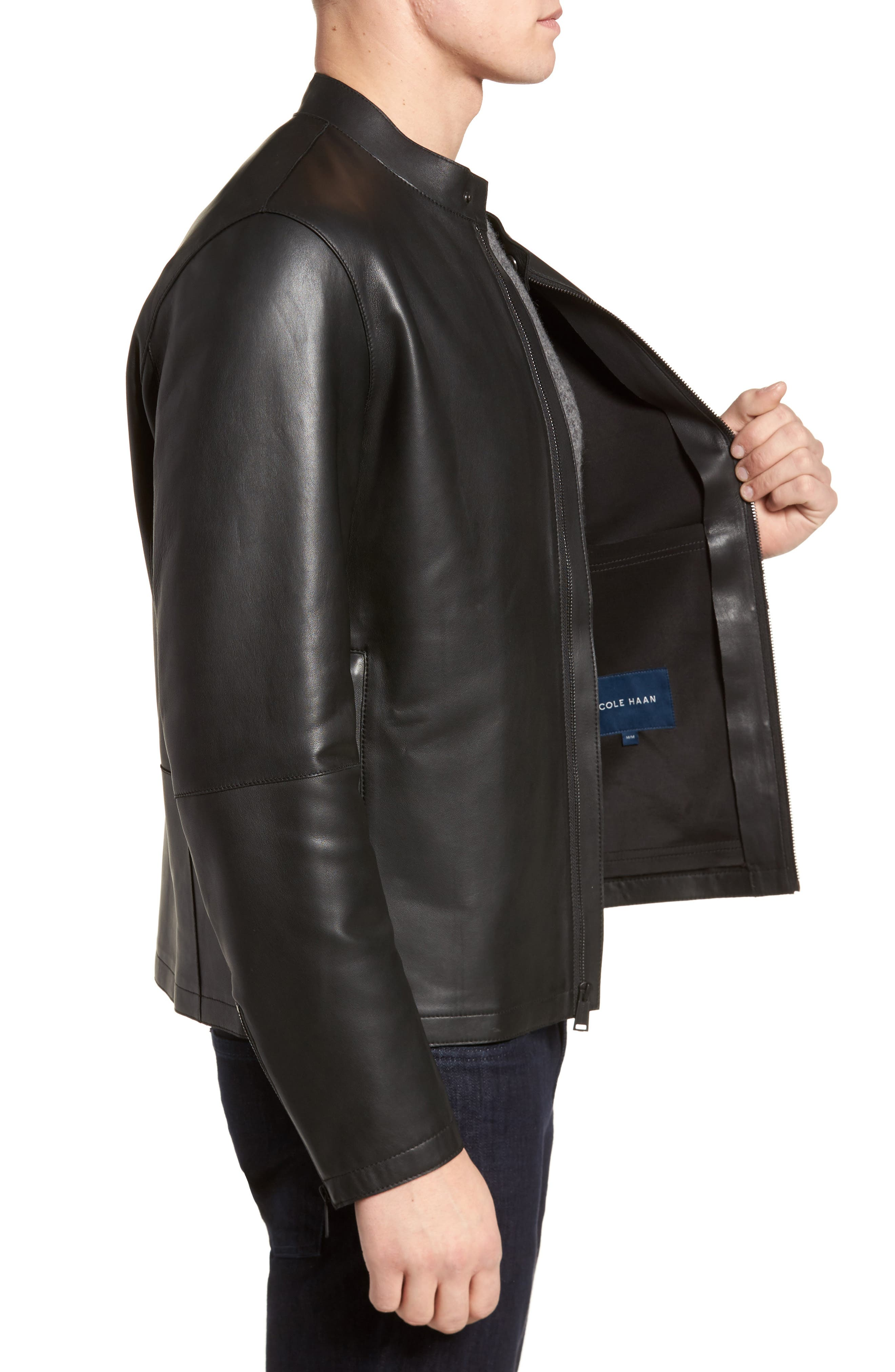 Bonded Leather Jacket,                             Alternate thumbnail 3, color,                             BLACK