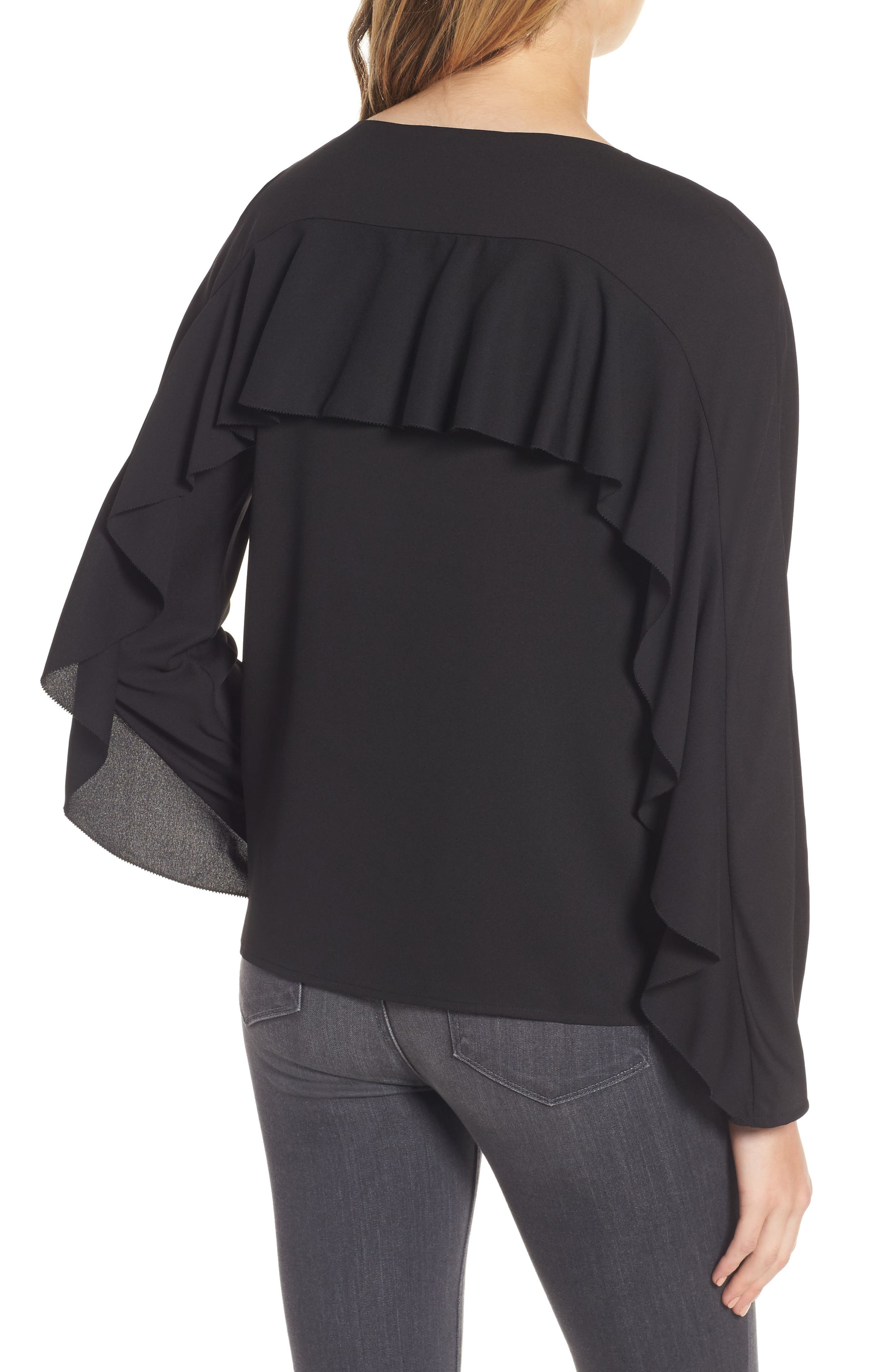 Selma Ruffle Blouse,                             Alternate thumbnail 2, color,                             001