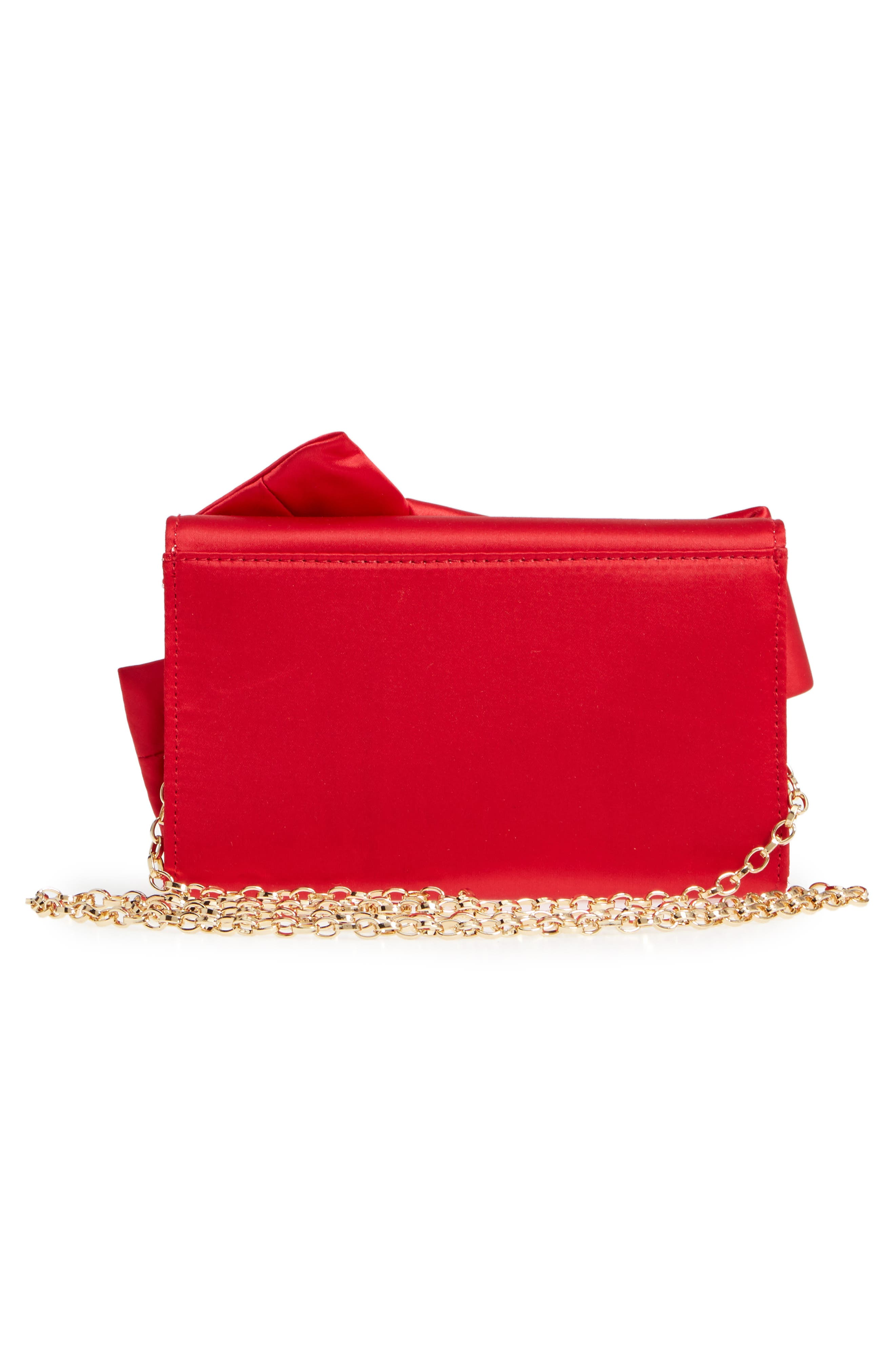 Fefee Satin Knotted Bow Clutch,                             Alternate thumbnail 3, color,                             BRIGHT RED