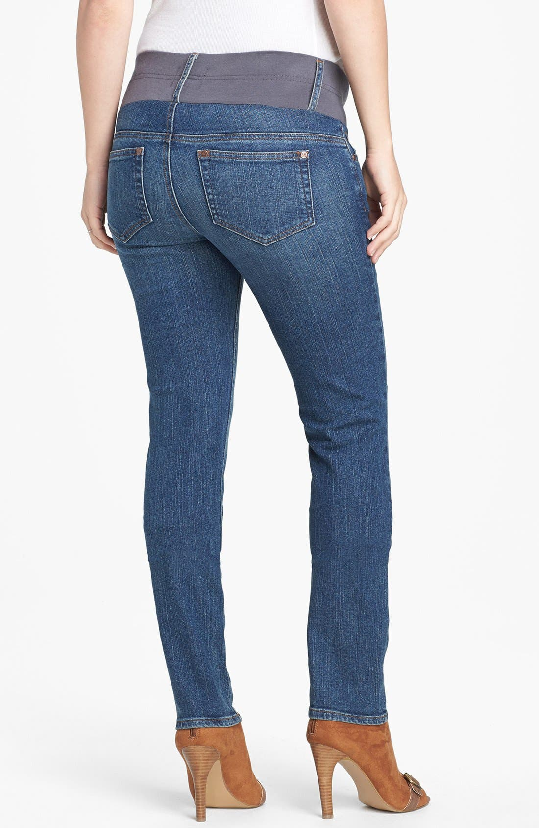 Maternity Skinny Jeans,                             Alternate thumbnail 2, color,                             CLASSIC WASH