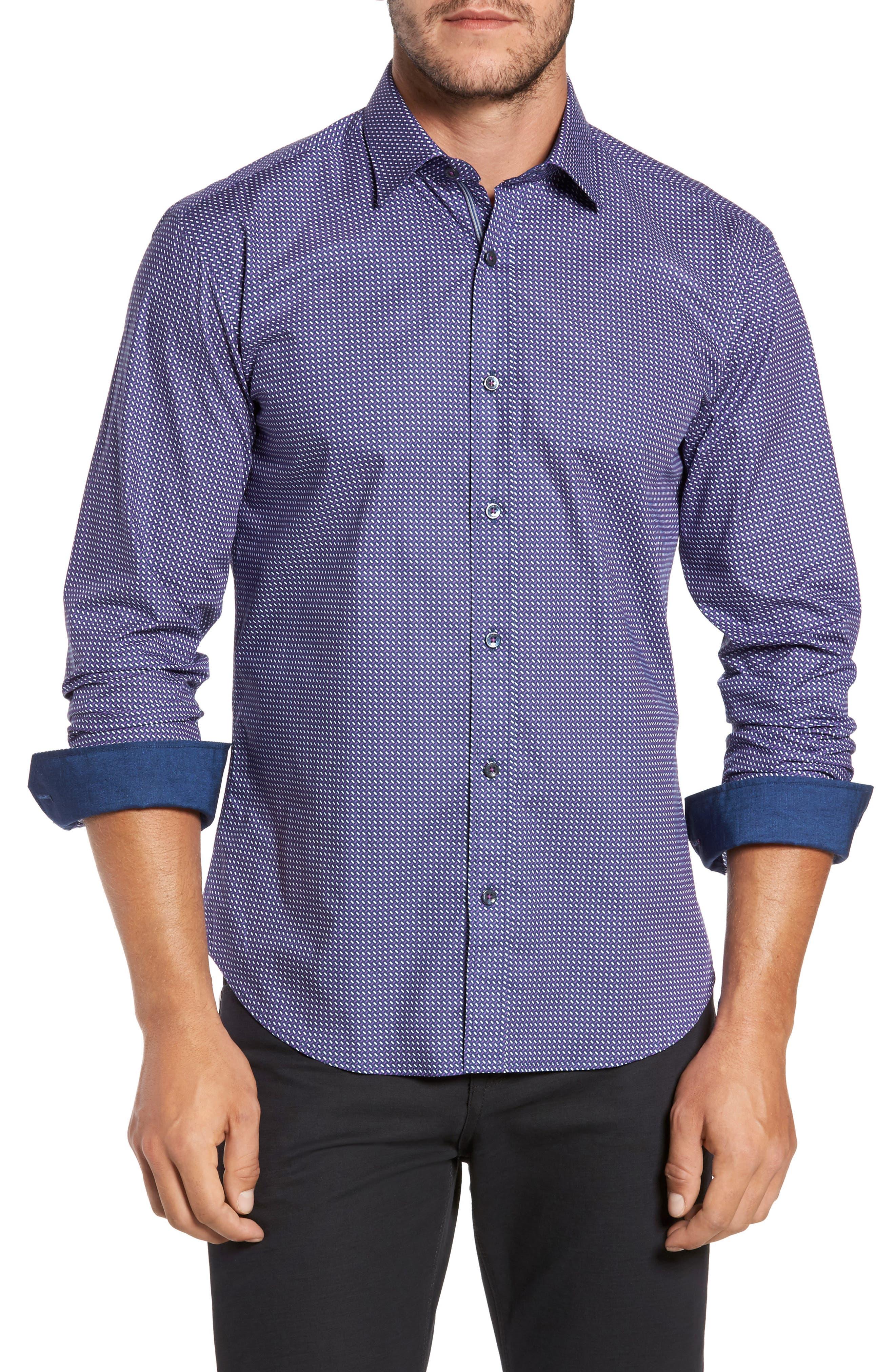 Trim Fit Weave Print Sport Shirt,                         Main,                         color, 408