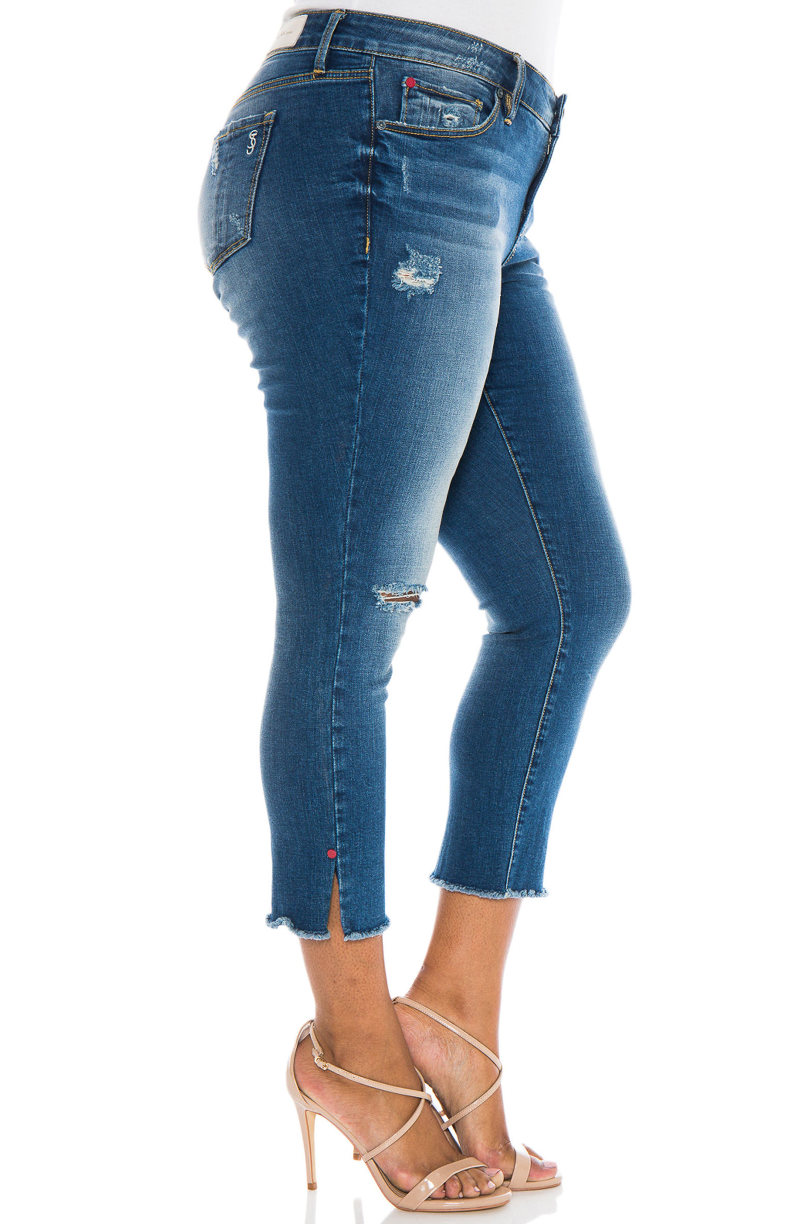 Frayed Crop Skinny Jeans,                             Alternate thumbnail 3, color,                             CARALYN