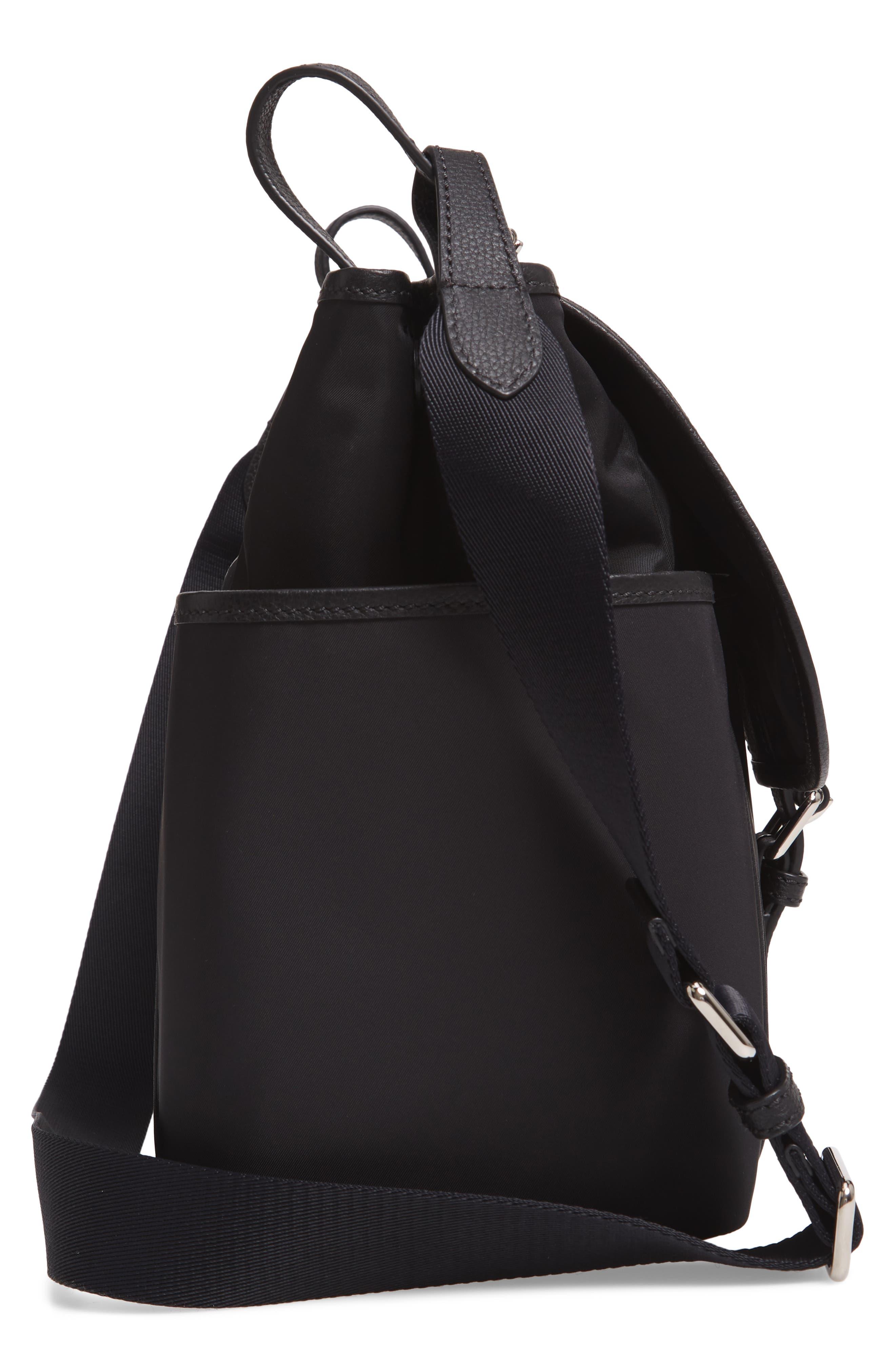 Flap Nylon Diaper Bag,                             Alternate thumbnail 5, color,                             BLACK