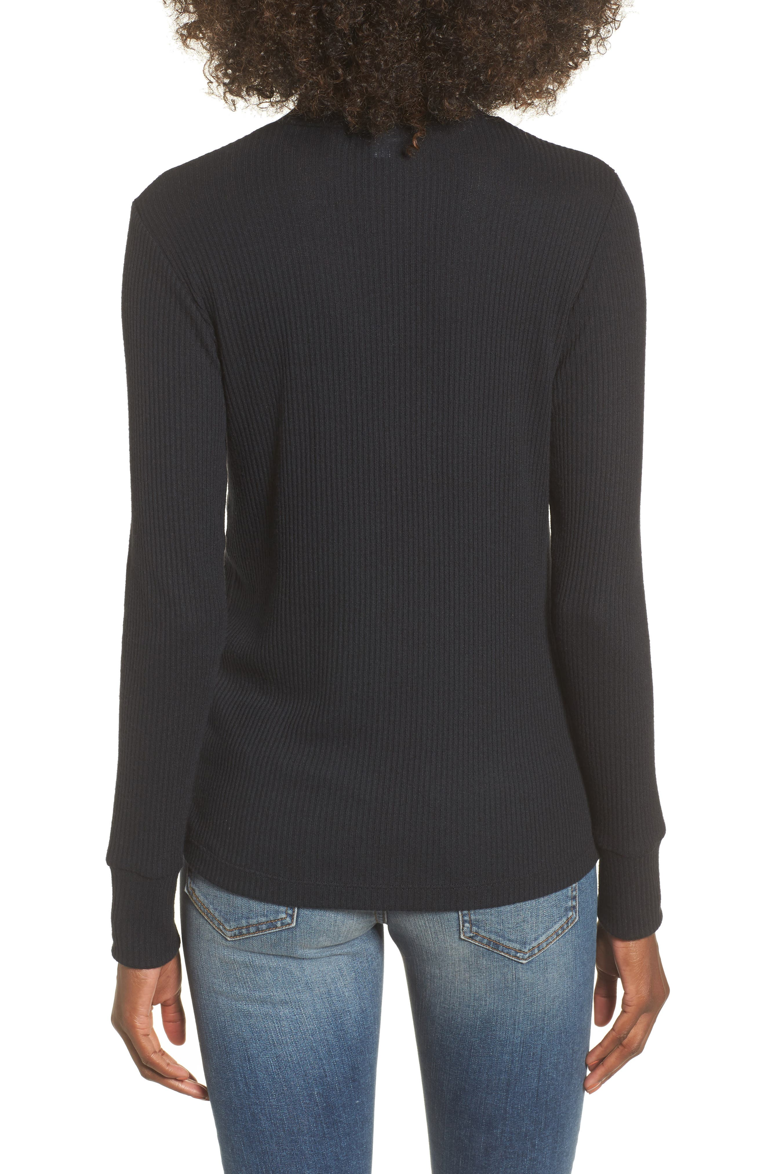 Lace-Up Turtleneck Top,                             Alternate thumbnail 2, color,