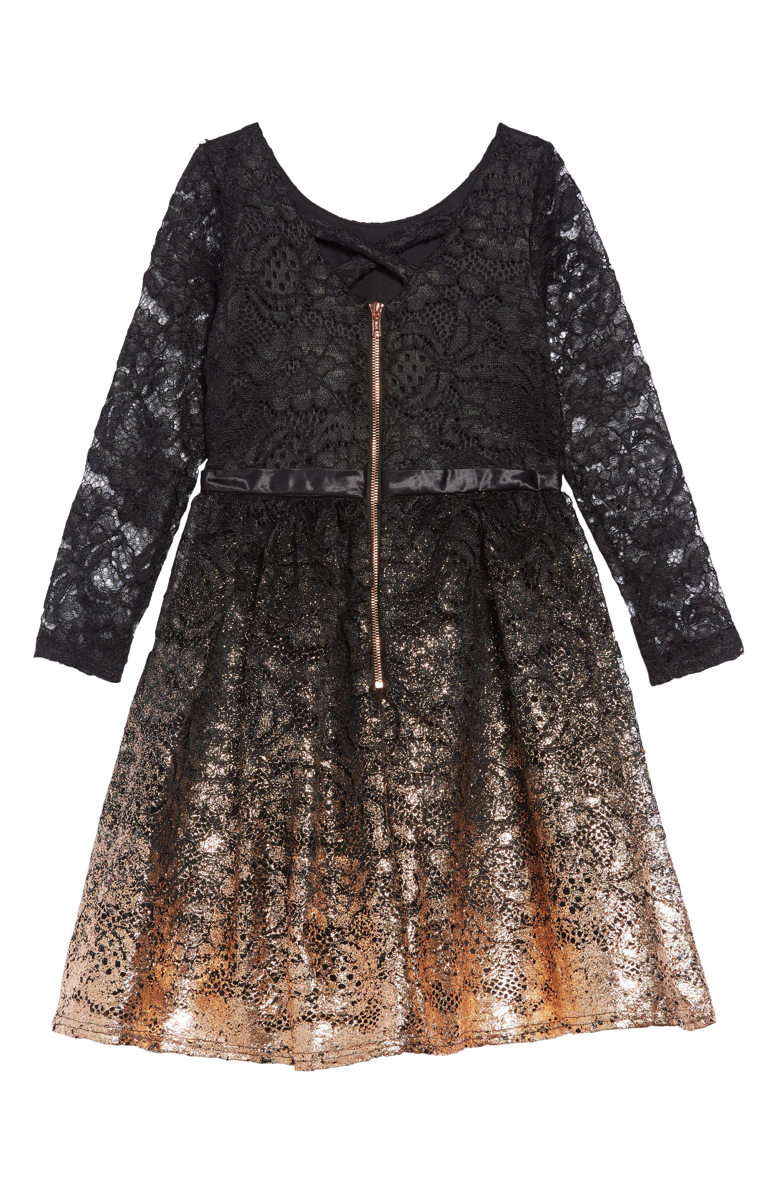 Lace Gold Ombré Dress,                             Alternate thumbnail 2, color,                             BLACK GOLD
