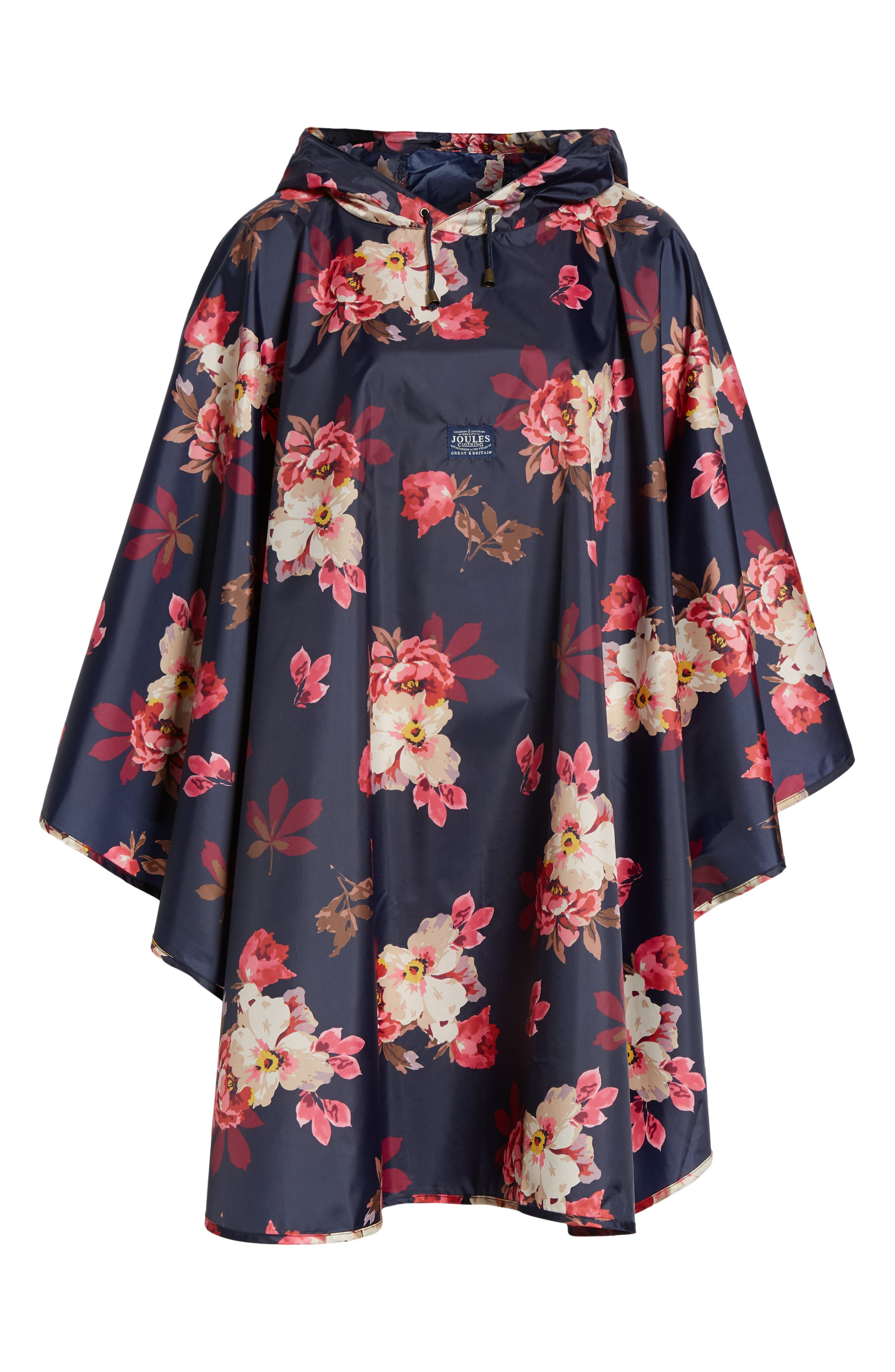 Right as Rain Print Packable Hooded Poncho,                             Alternate thumbnail 5, color,                             FRENCH NAVY BIRCHAM BLOOM