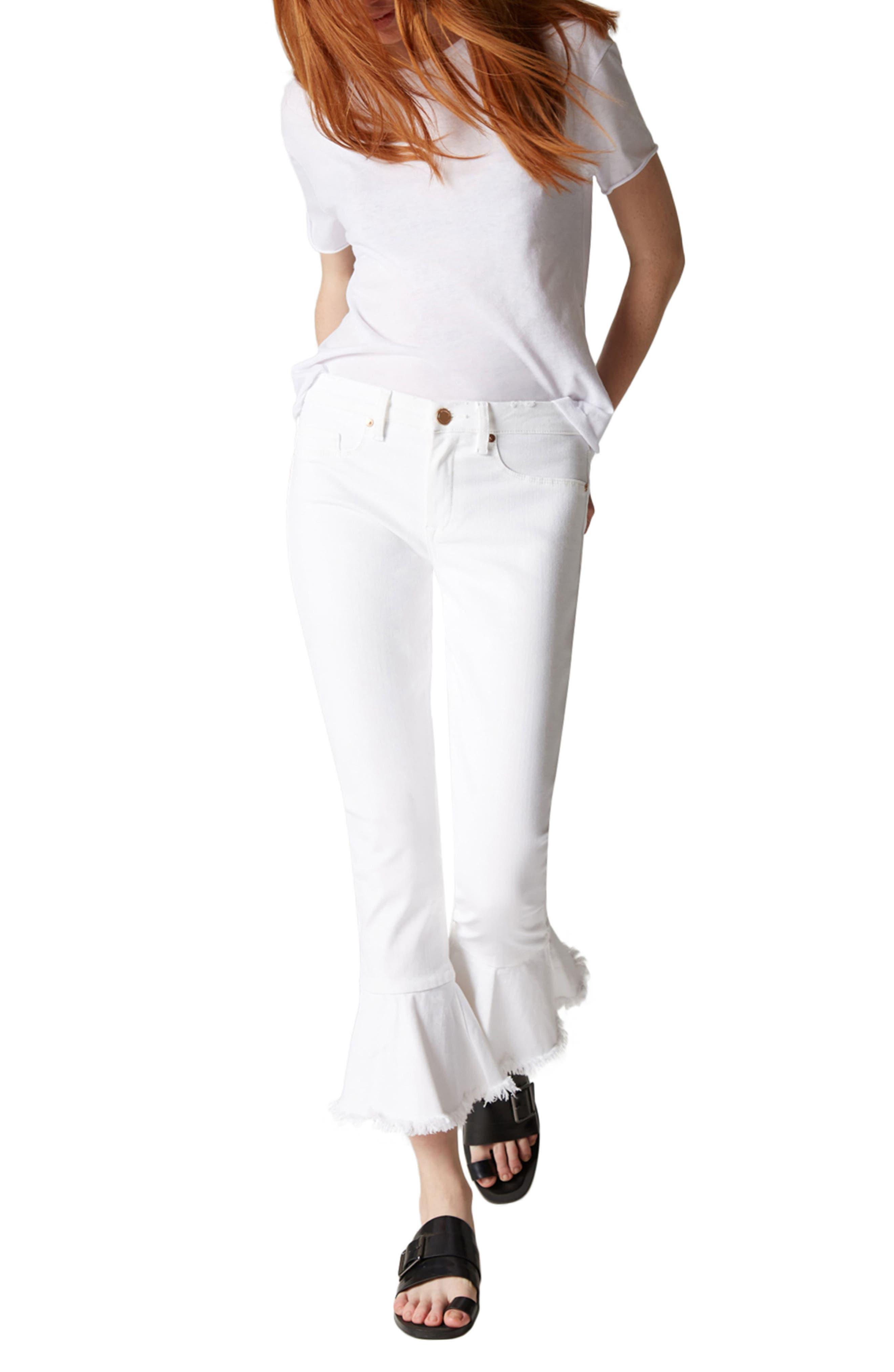 Great White Ruffle Hem Jeans,                             Alternate thumbnail 4, color,                             100