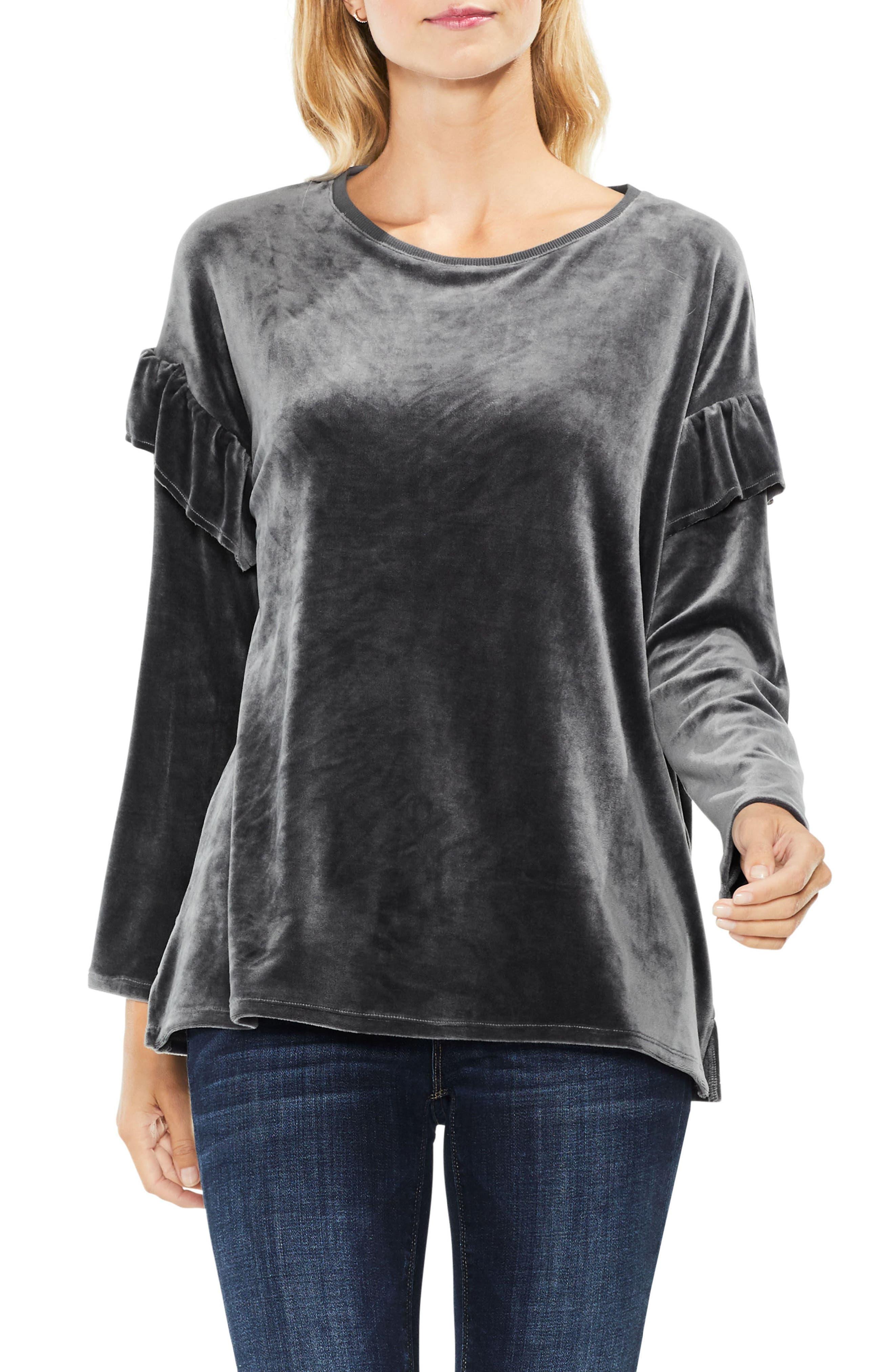 Long Sleeve Ruffle Shoulder Velour Top,                         Main,                         color, 024