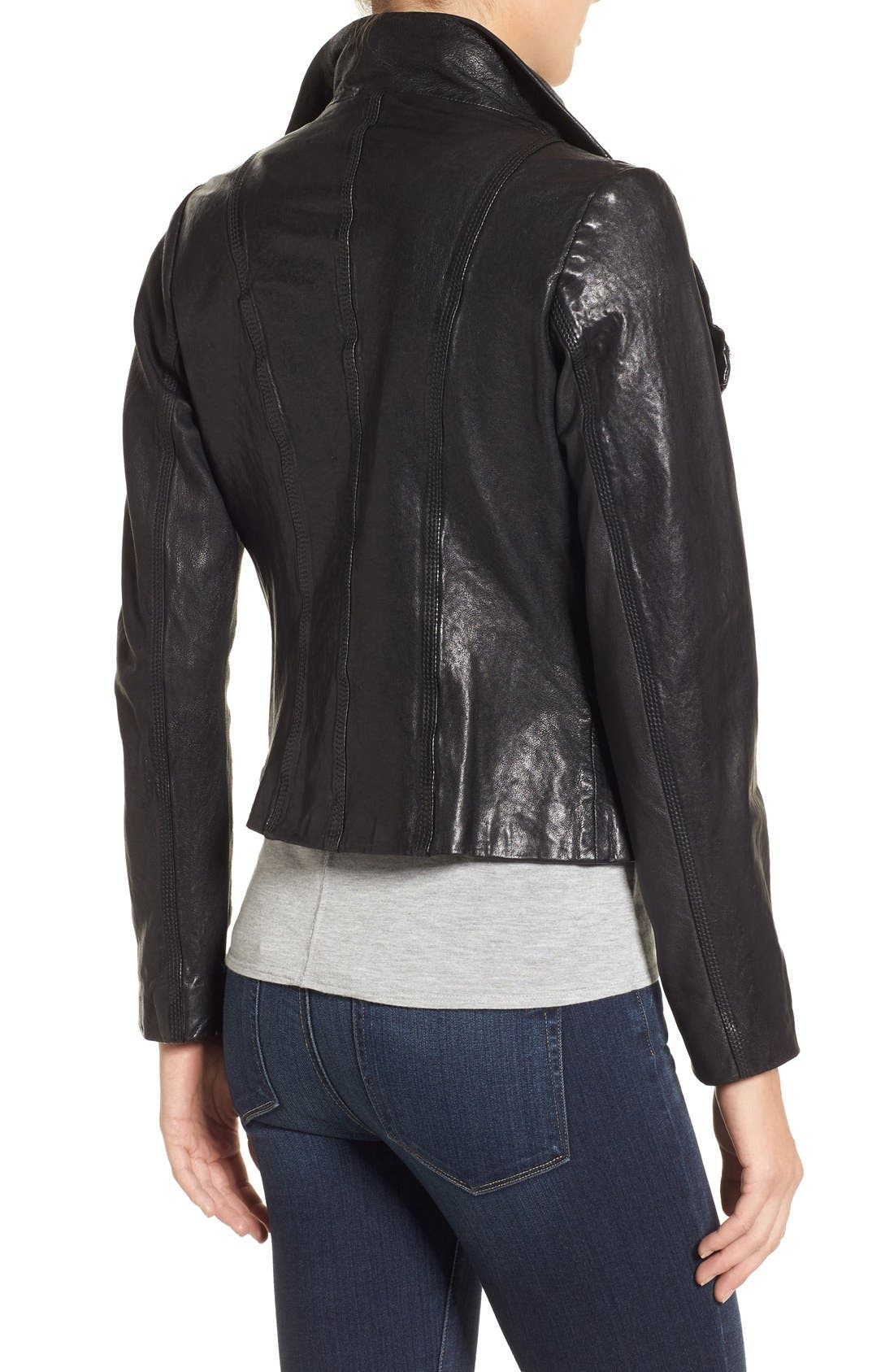 Funnel Neck Moto Jacket,                             Alternate thumbnail 8, color,                             BLACK