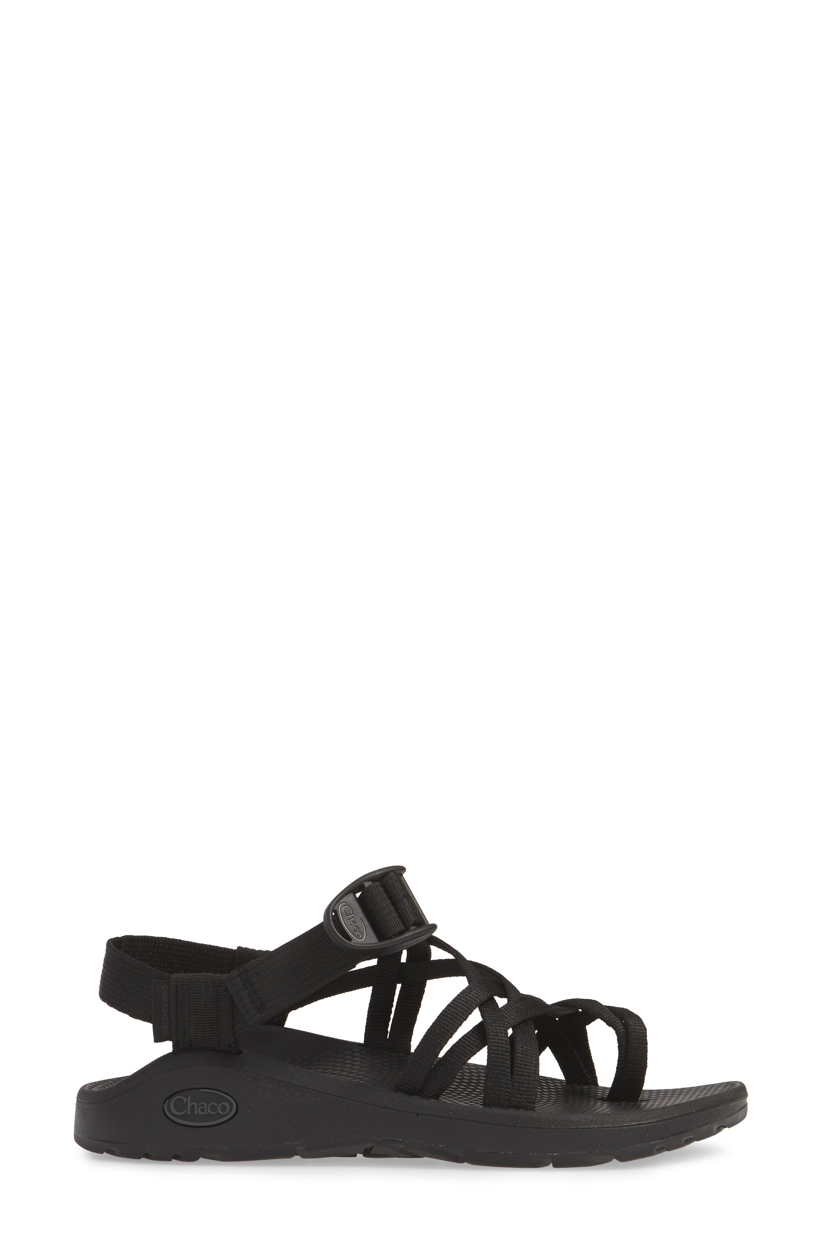 CHACO,                             Z/Cloud X2 Sandal,                             Alternate thumbnail 3, color,                             SOLID BLACK FABRIC