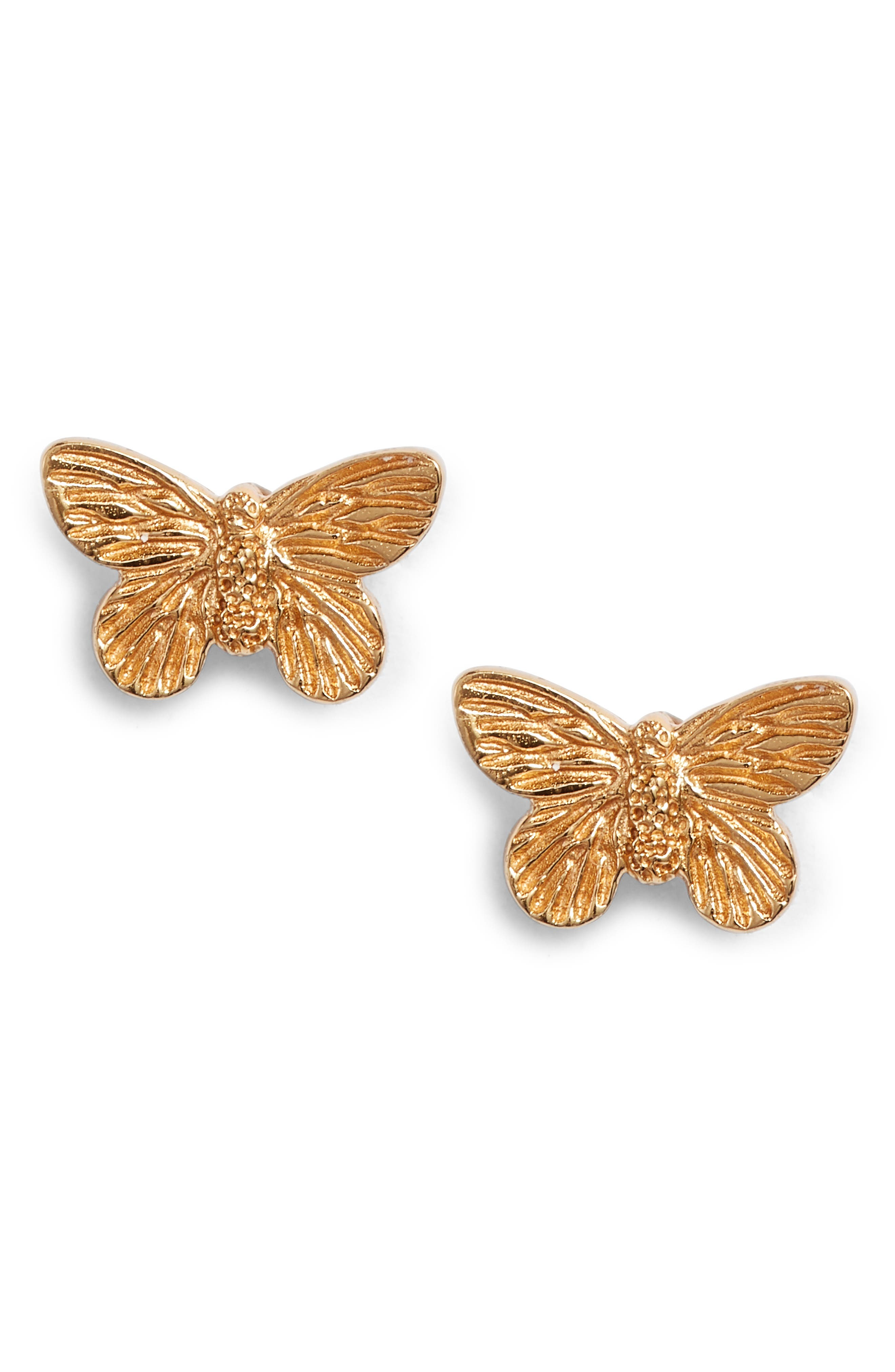 3D Butterfly Stud Earrings, Main, color, GOLD