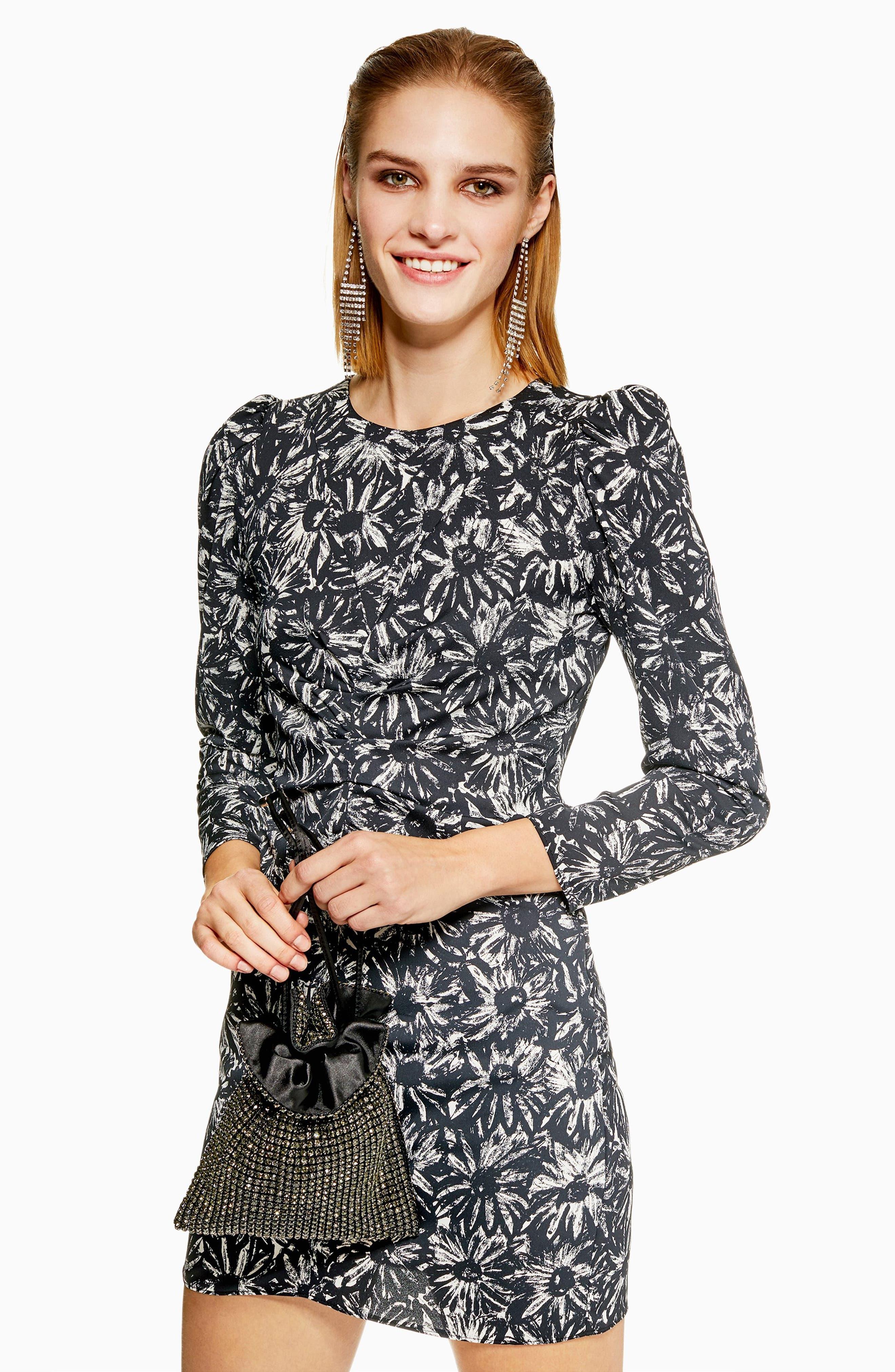 Daisy Ruched Minidress,                             Alternate thumbnail 5, color,                             BLACK MULTI