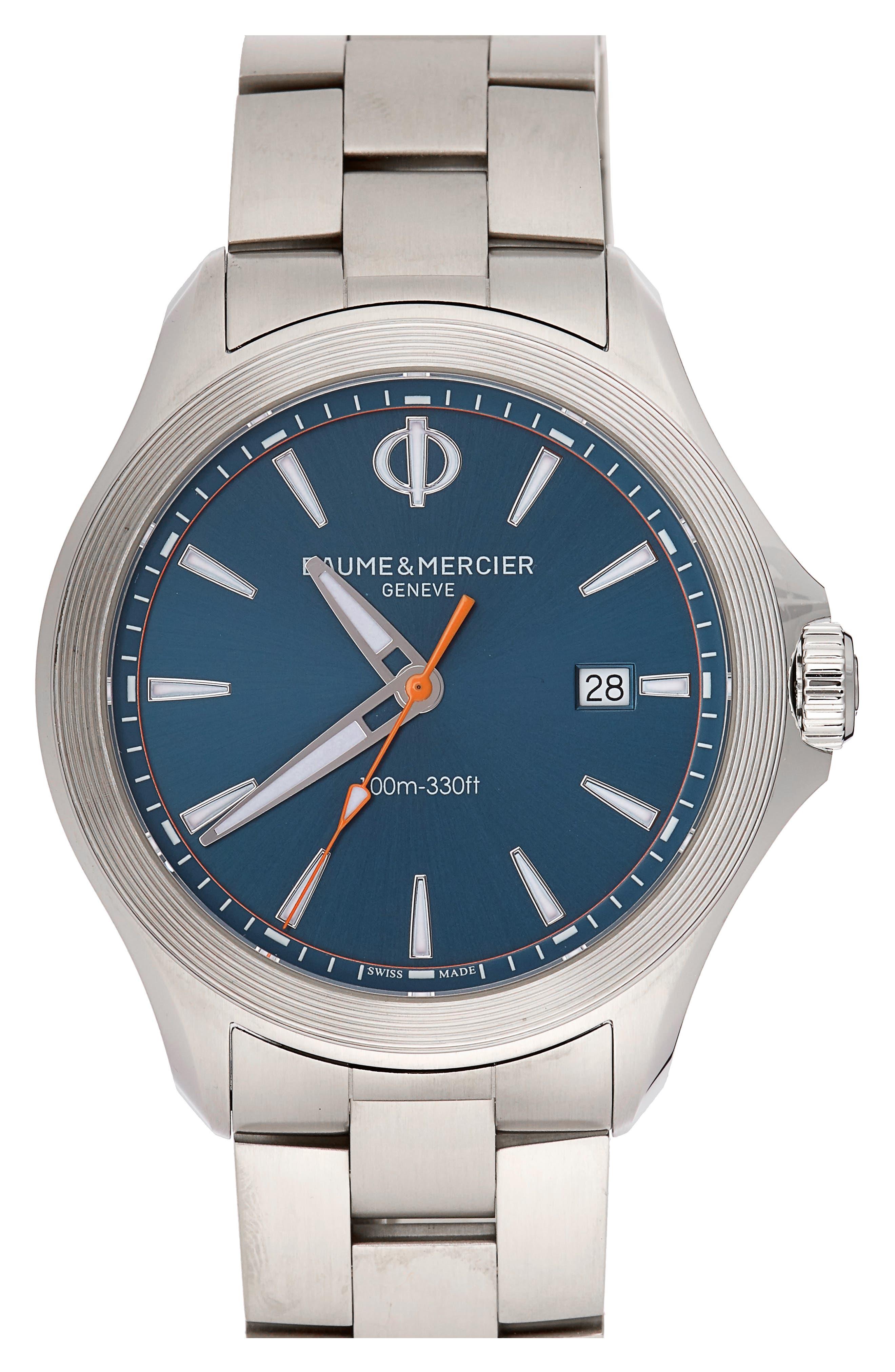 Baume & Mercier Clifton Club Bracelet Watch, 42mm,                             Main thumbnail 1, color,                             BLUE/SILVER