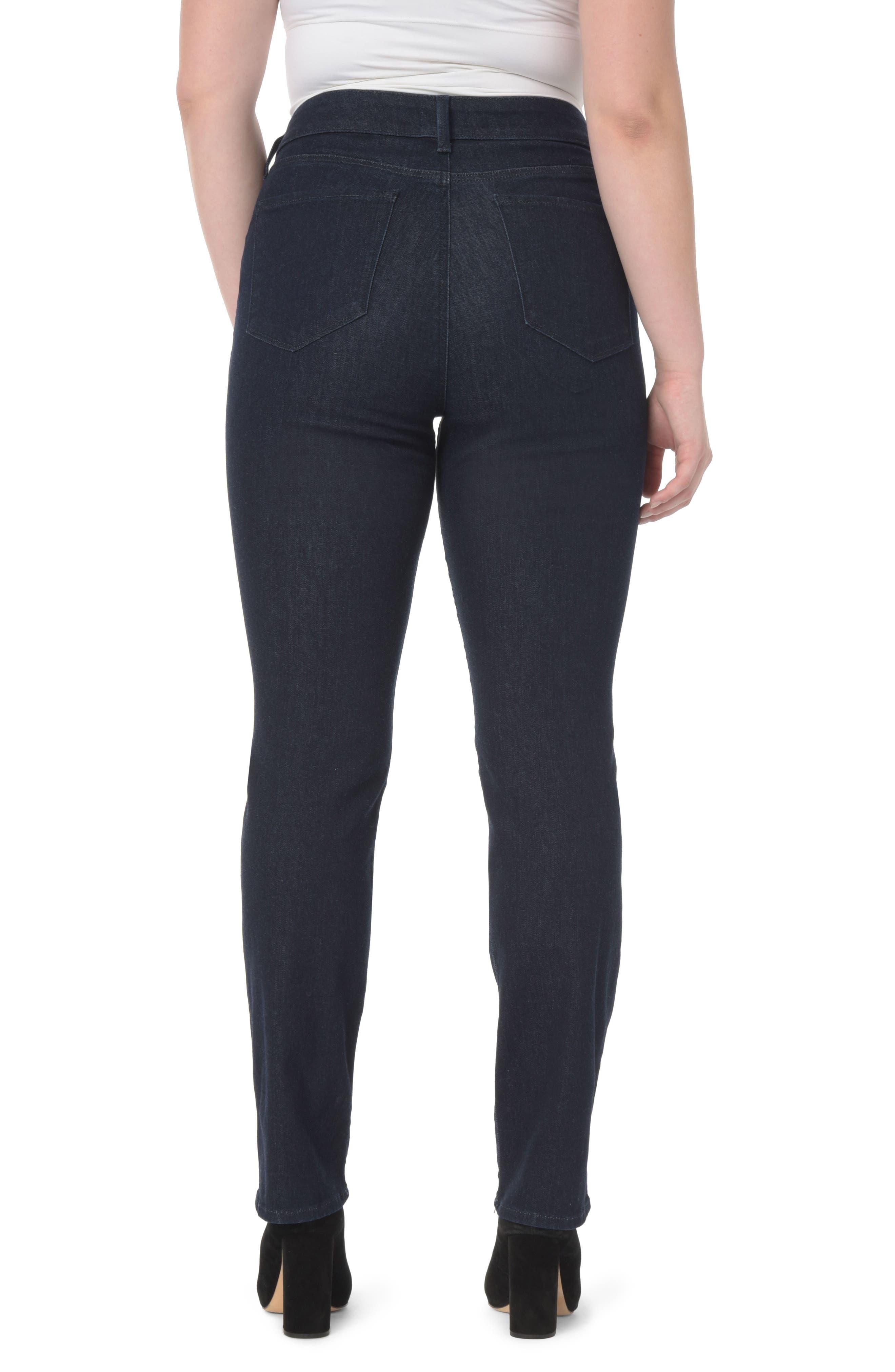 Marilyn High Rise Straight Leg Jeans,                             Alternate thumbnail 2, color,                             RINSE TONAL STITCH